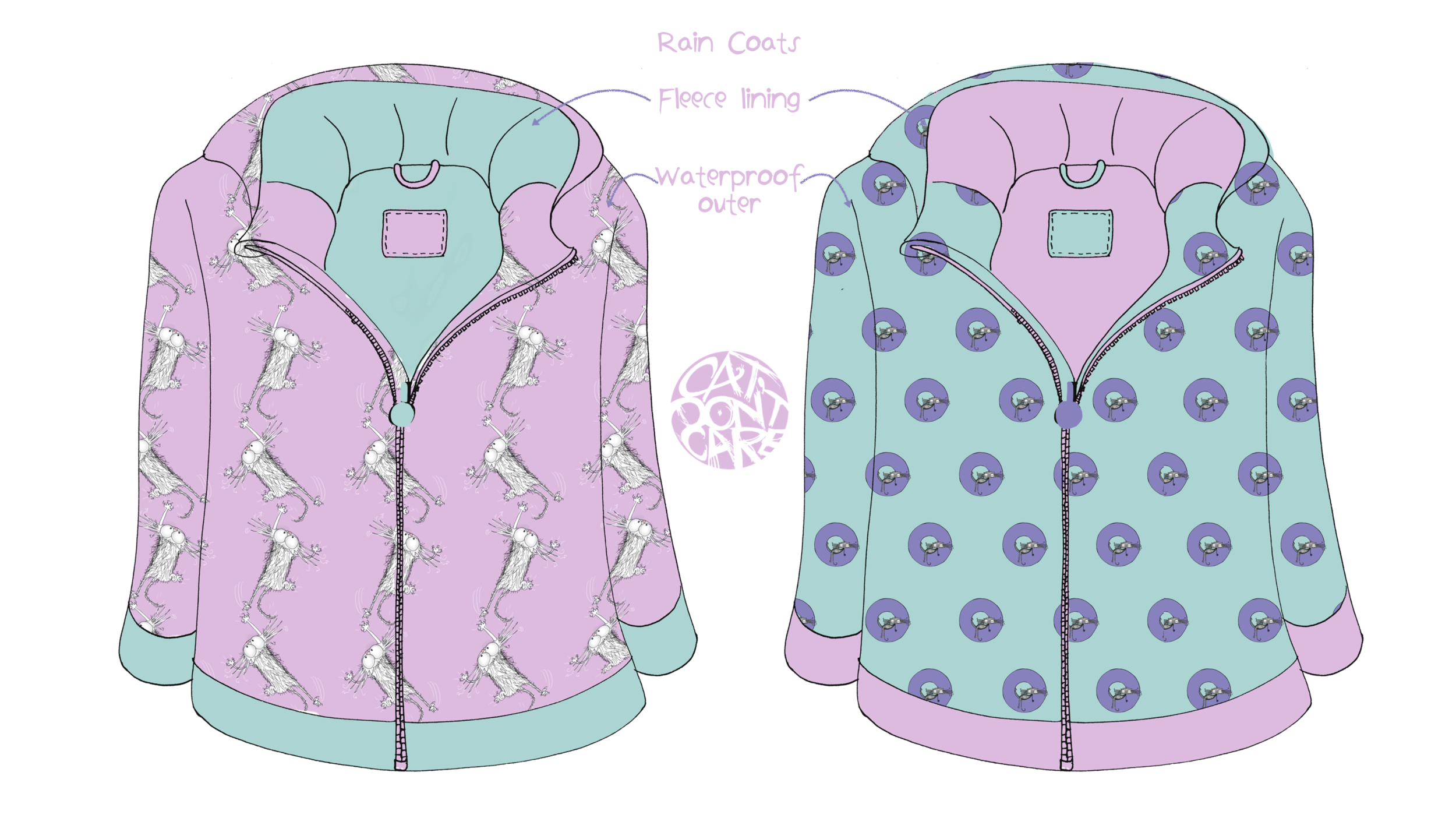 CAT DONT CARE | RAINCOATS | NATALIE PALMER SUTTON | ILLUSTRATION | GIFTS FOR CRAZY CAT LOVERS