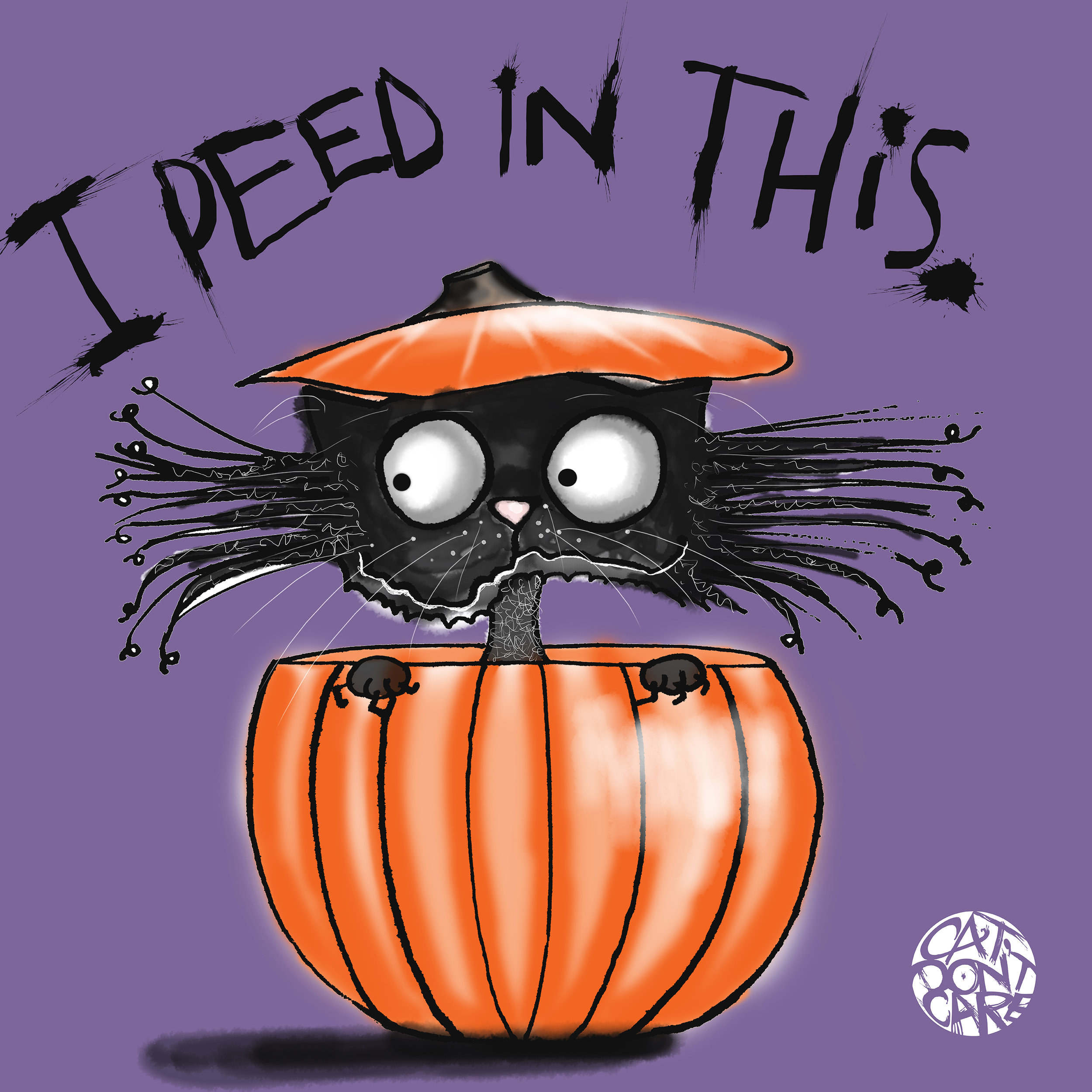 CAT DON'T CARE | CAT IN A PUMPKIN | HALLOWEEN | CAT PEE | FUNNY CAT ART | NATALIE PALMER SUTTON ILLUSTRATION