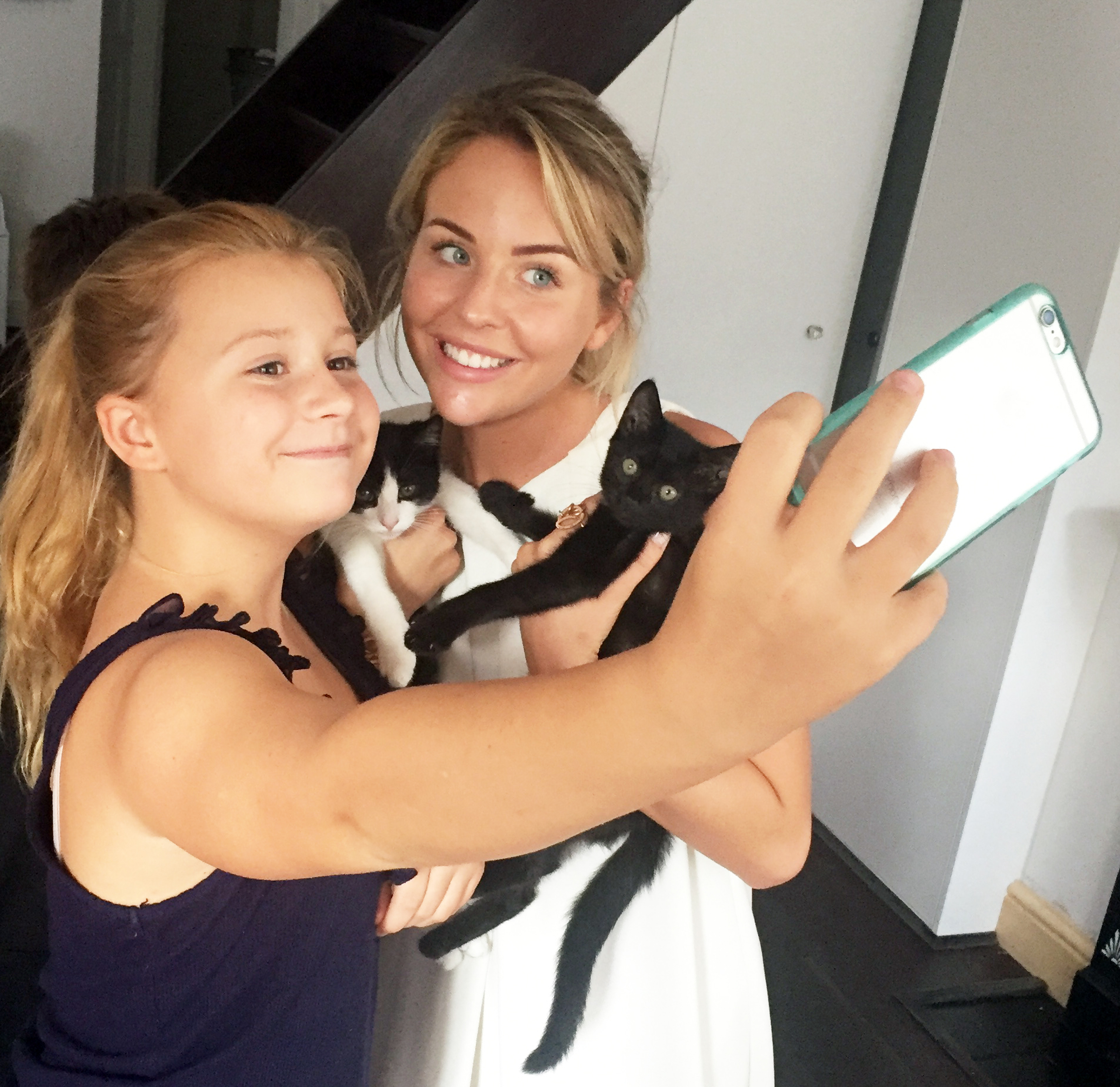 Amelie Sutton & Lydia Bright | Selfie moment with the kittens before they scampered away :)