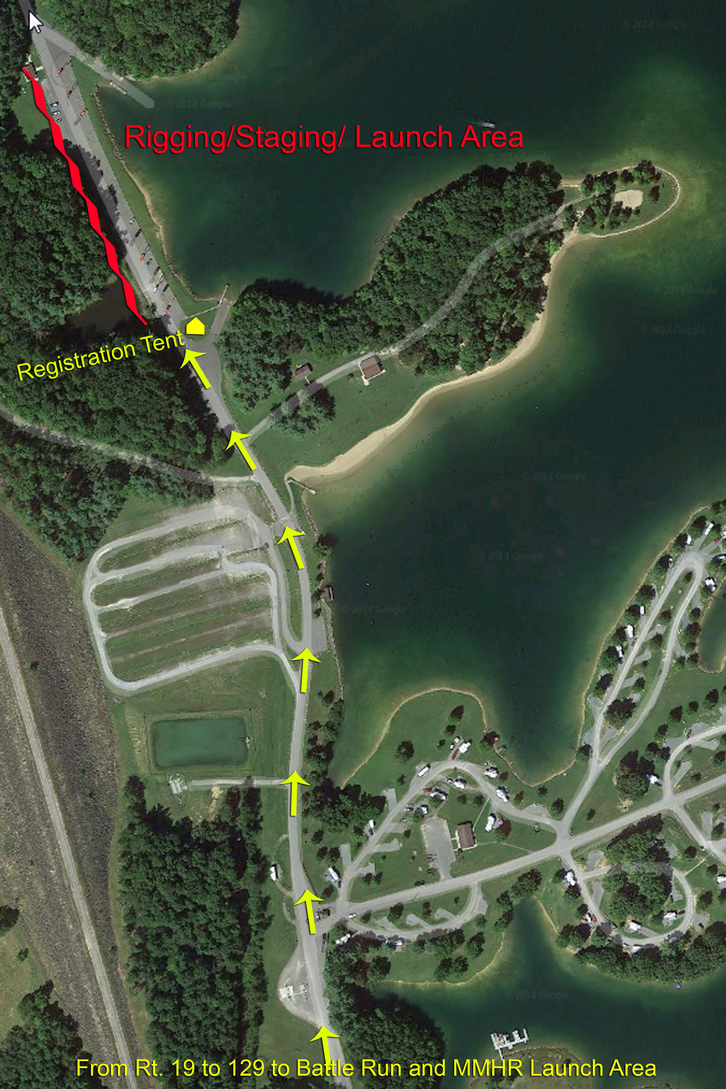 Roadway approach to Battle Run and the Mountain Mama Hospice Regatta