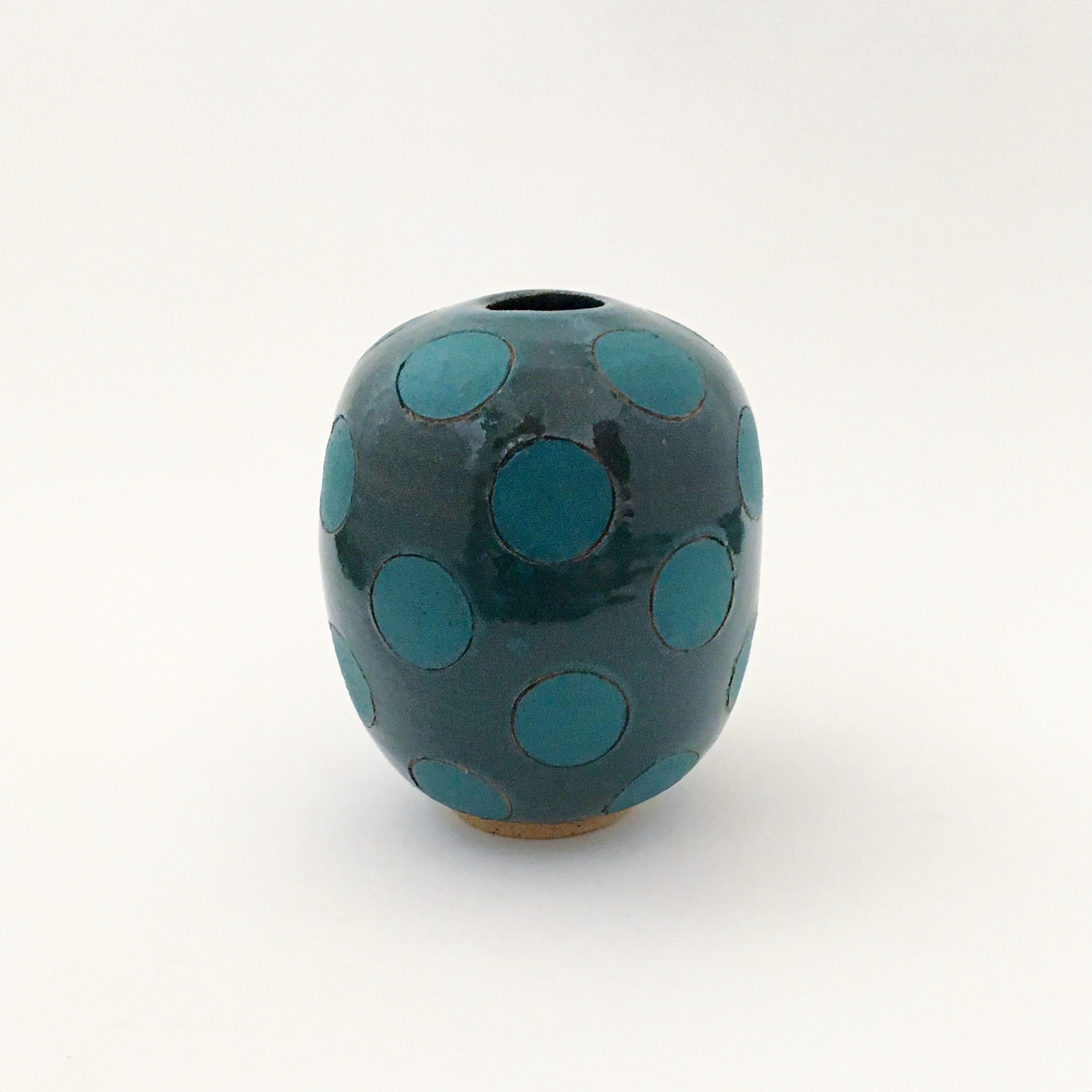 Green Polka Dot Bulb Vase