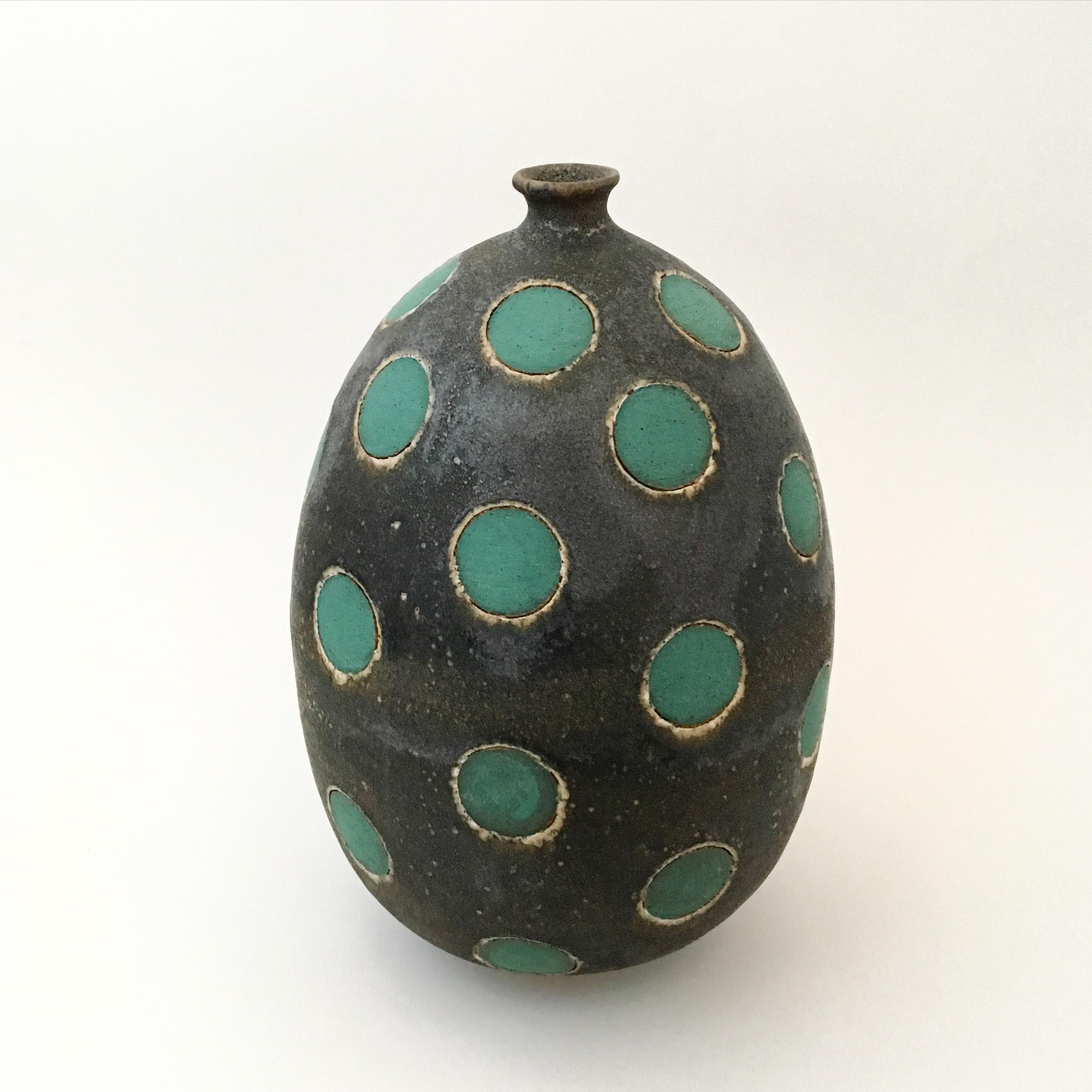 Green on Black Polka Dot Vase