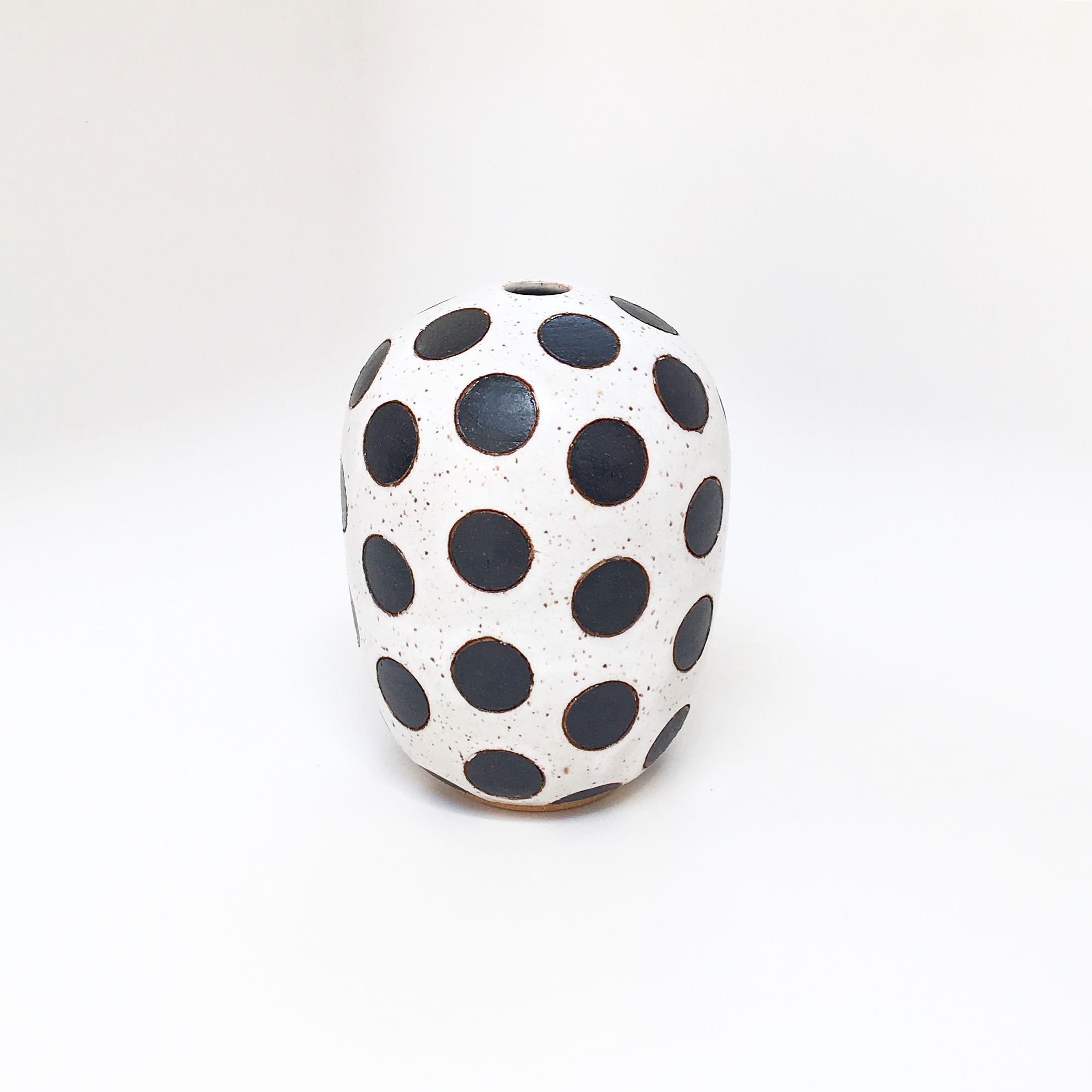 Black on White Dot Vase