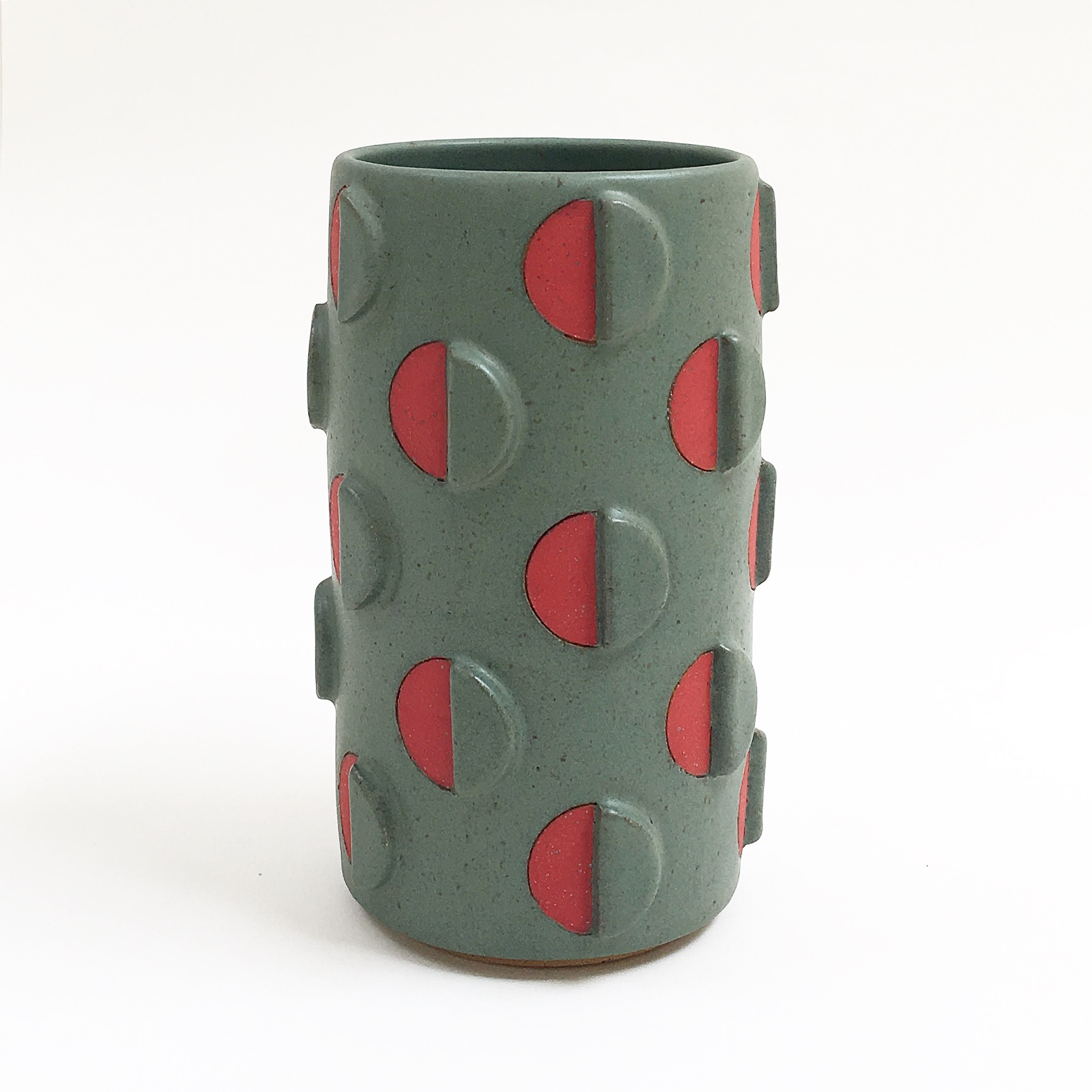 Green and Red Split Polka Dot Vase with Relief