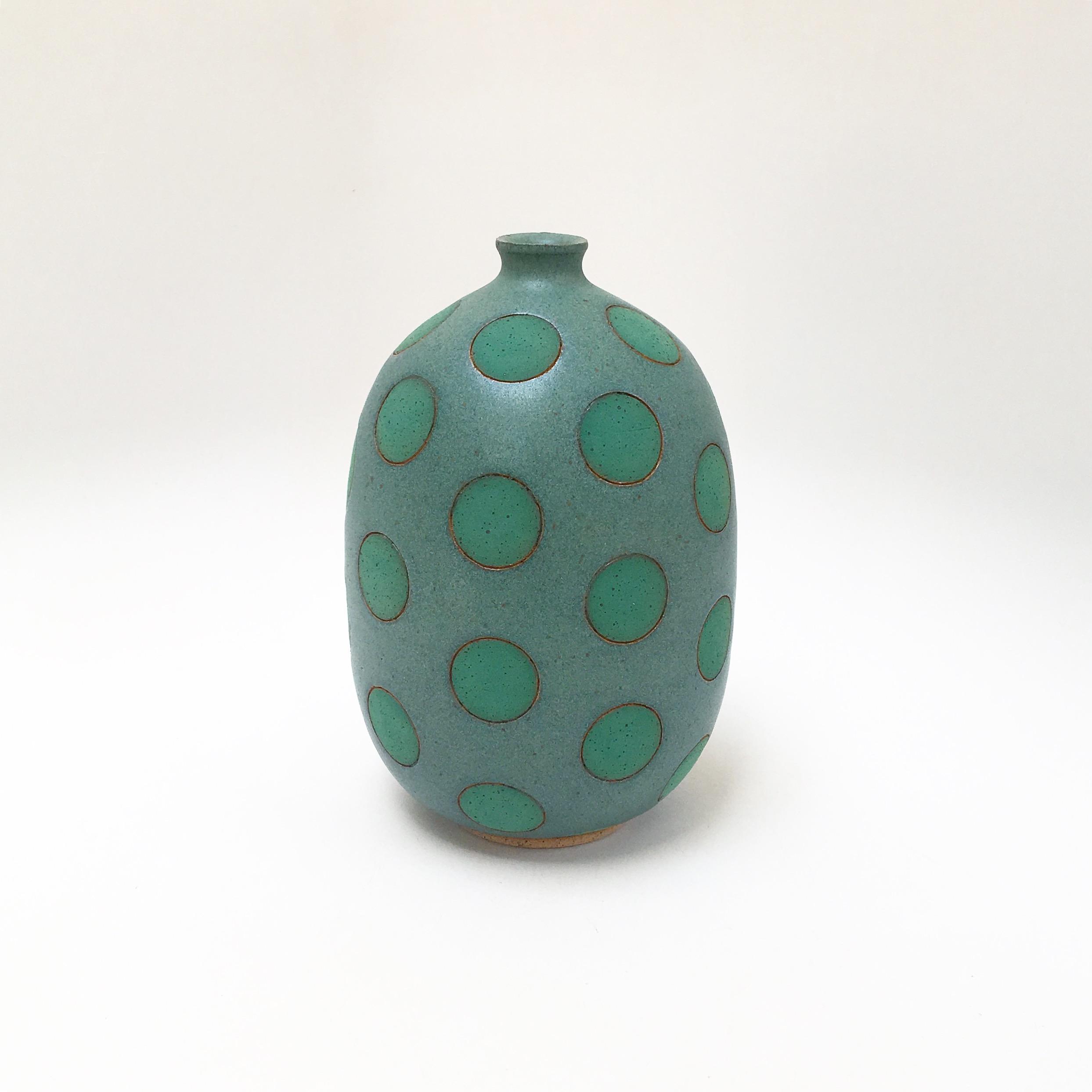 Green on Green Polk Dot Vase