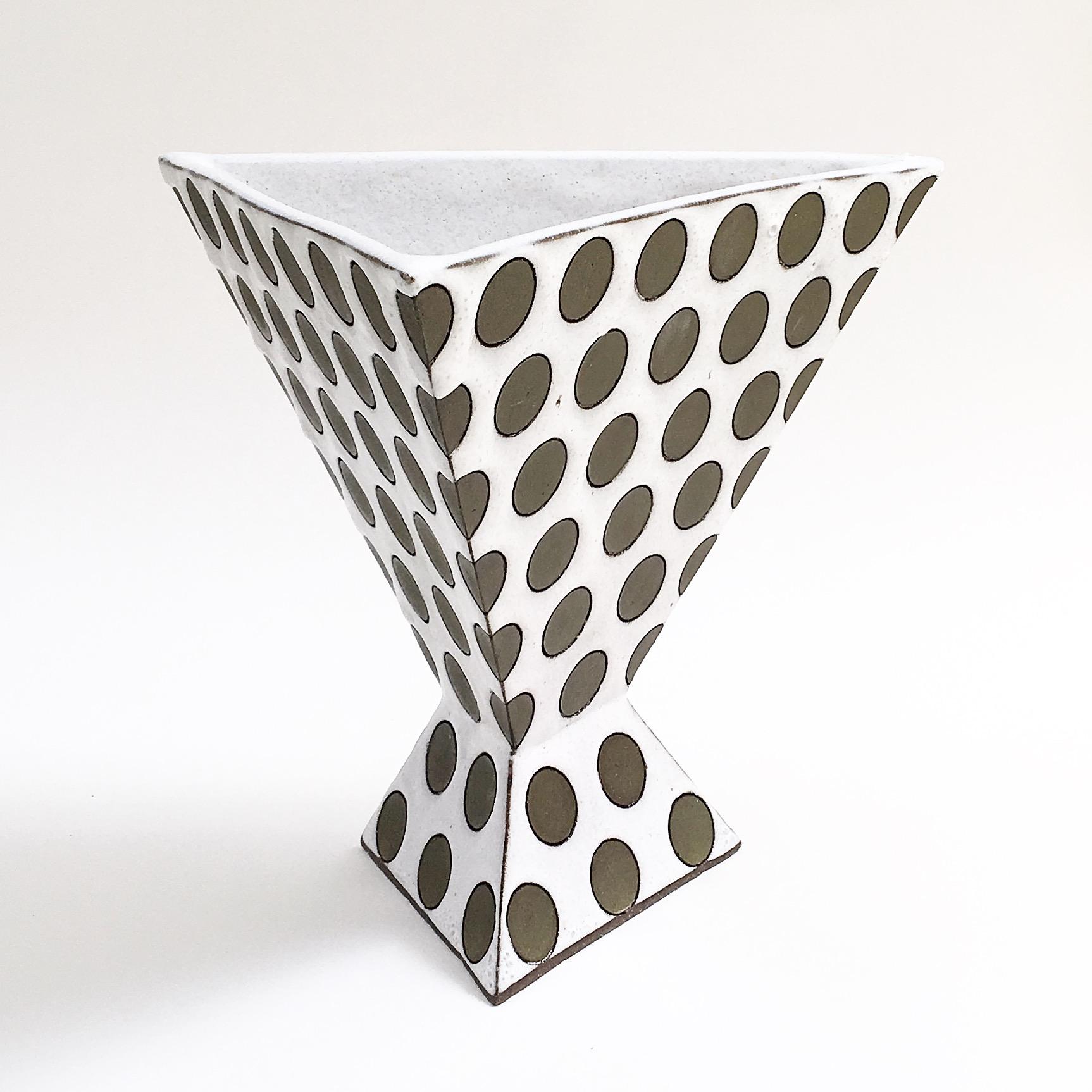 Triangular Polka Dot Vase