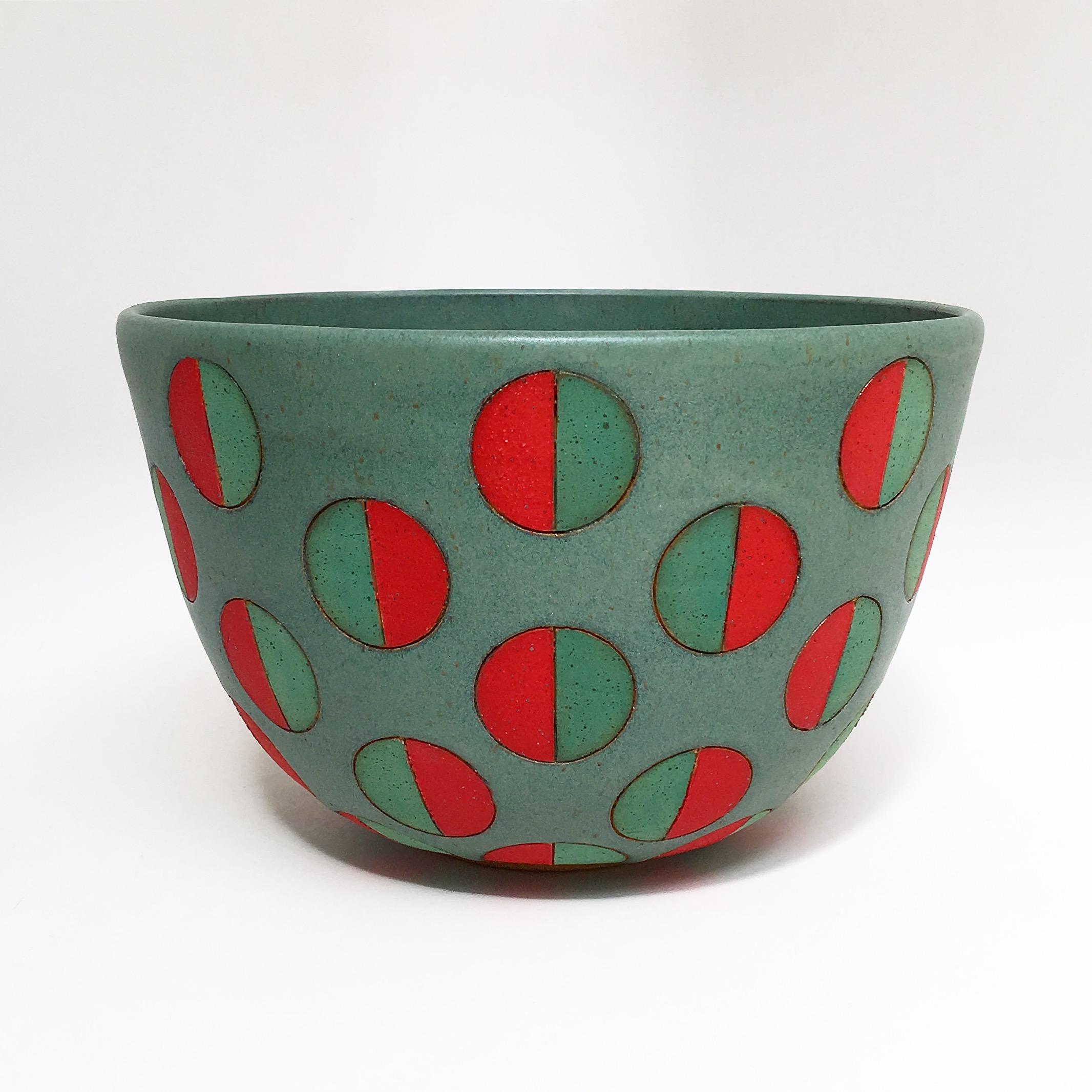Green Split Polka Dot Bowl