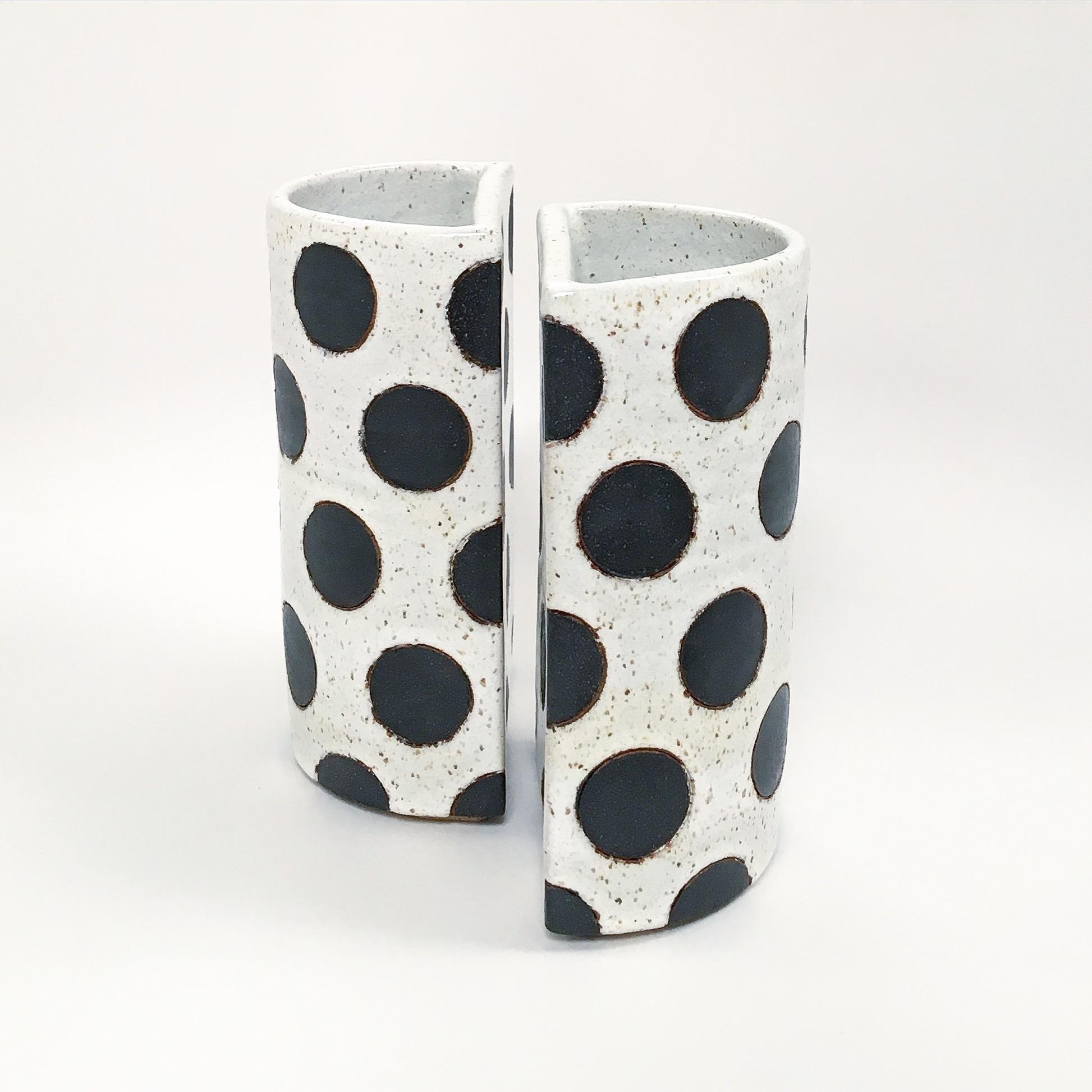 Black Polka Dot Split Vase