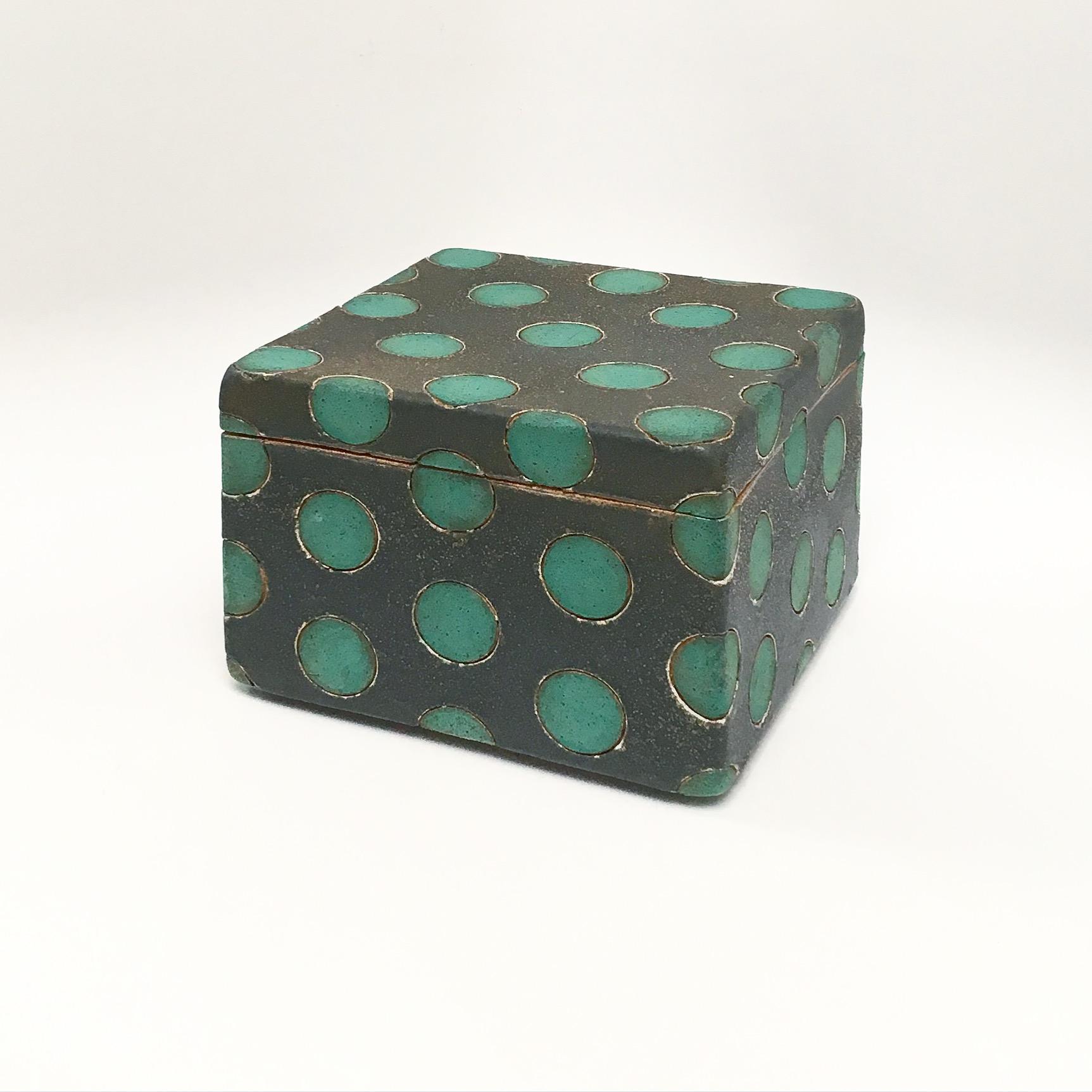 Green on Black Polka Dot Box
