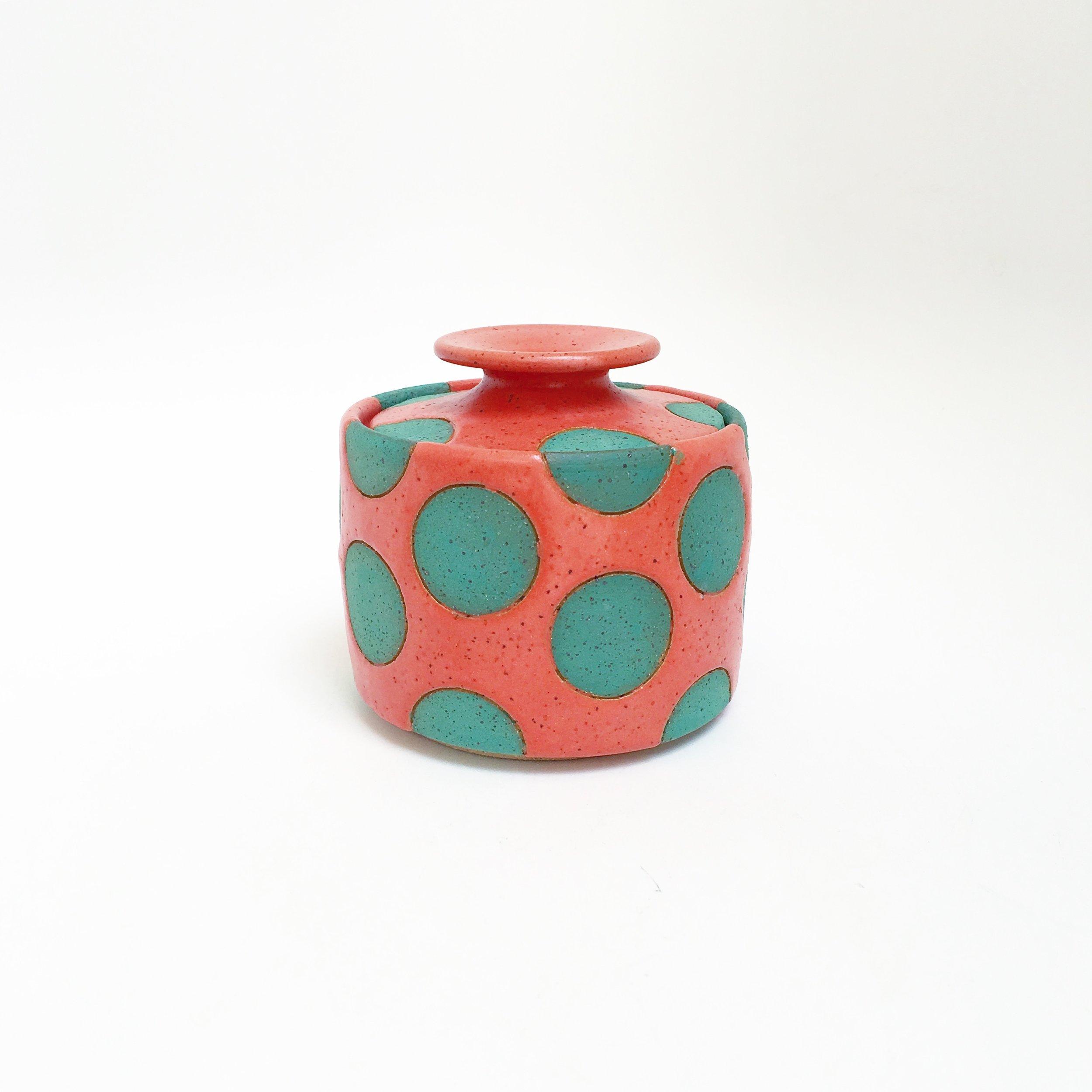 Coral and Green Polka Dot Jar