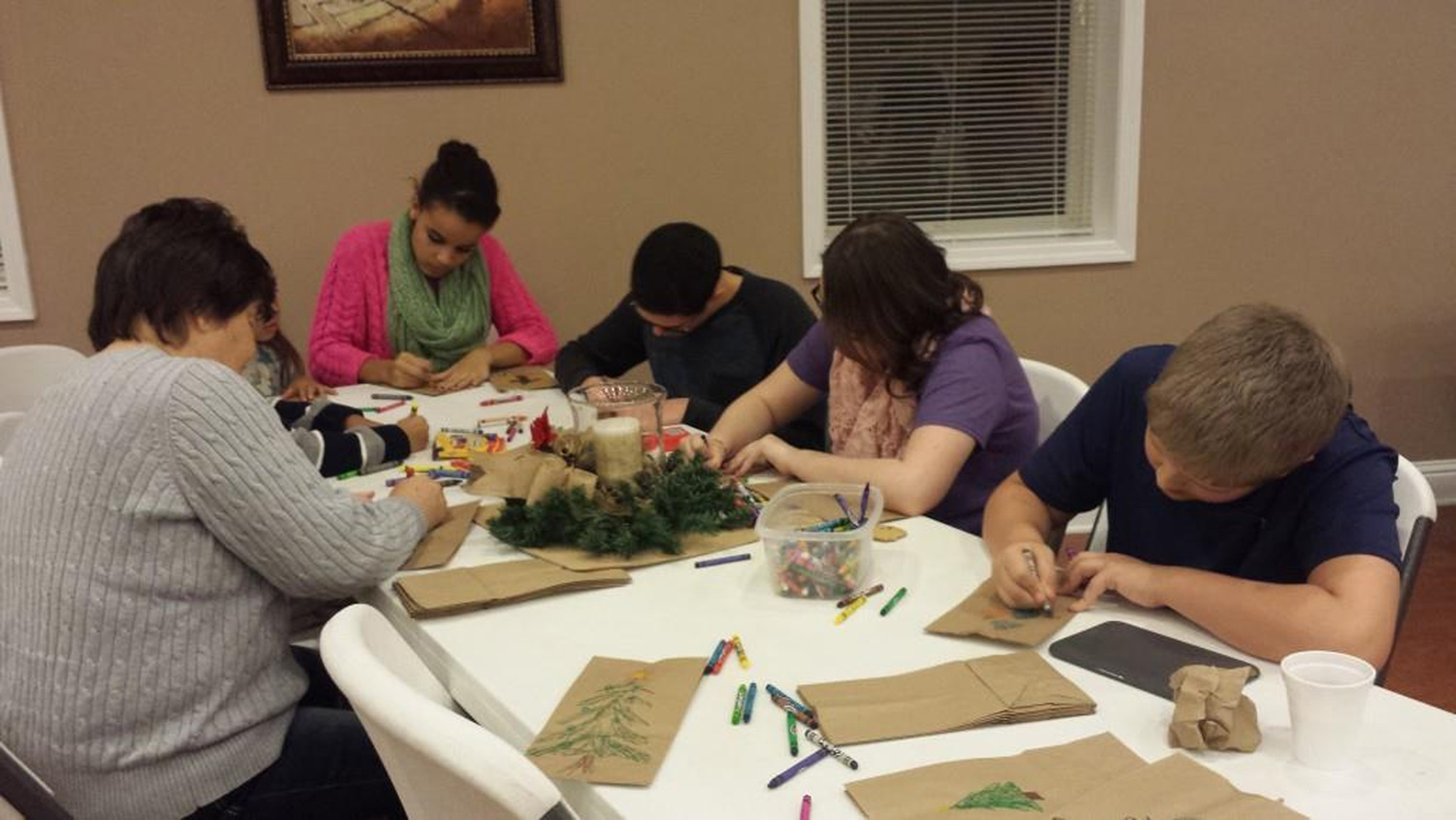 Preparing Candy Bags for Christmas Breakfast (Spirit Class, WOW & Others) - Dec 2014