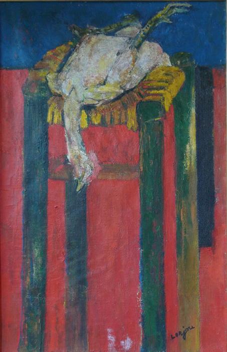 Still life of chicken on a stool