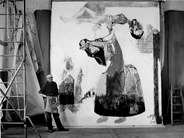 Lorjou with his painting Grimeau