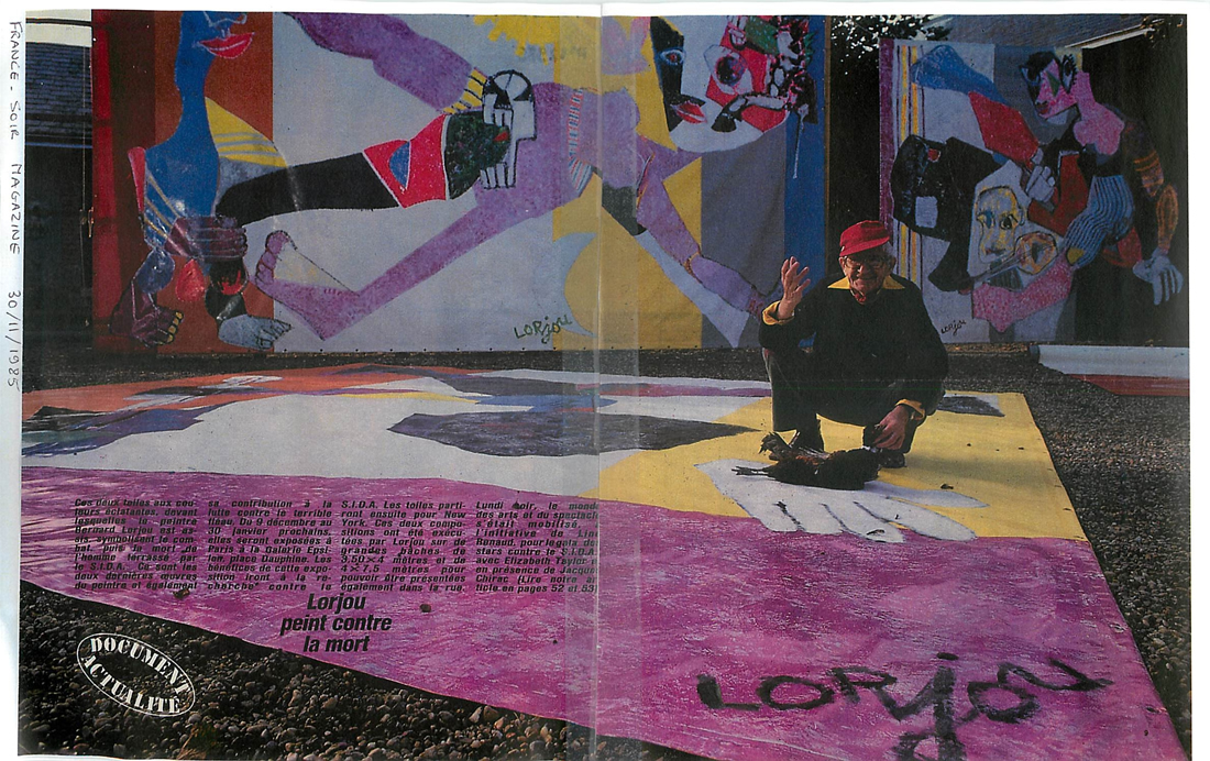 Lorjou in front of a painted tarp for his series on AIDS (1985)