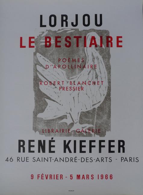 Le Bestiaire     Galerie René Kieffer   Paris, France    February 9, 1966 - March 5, 1966