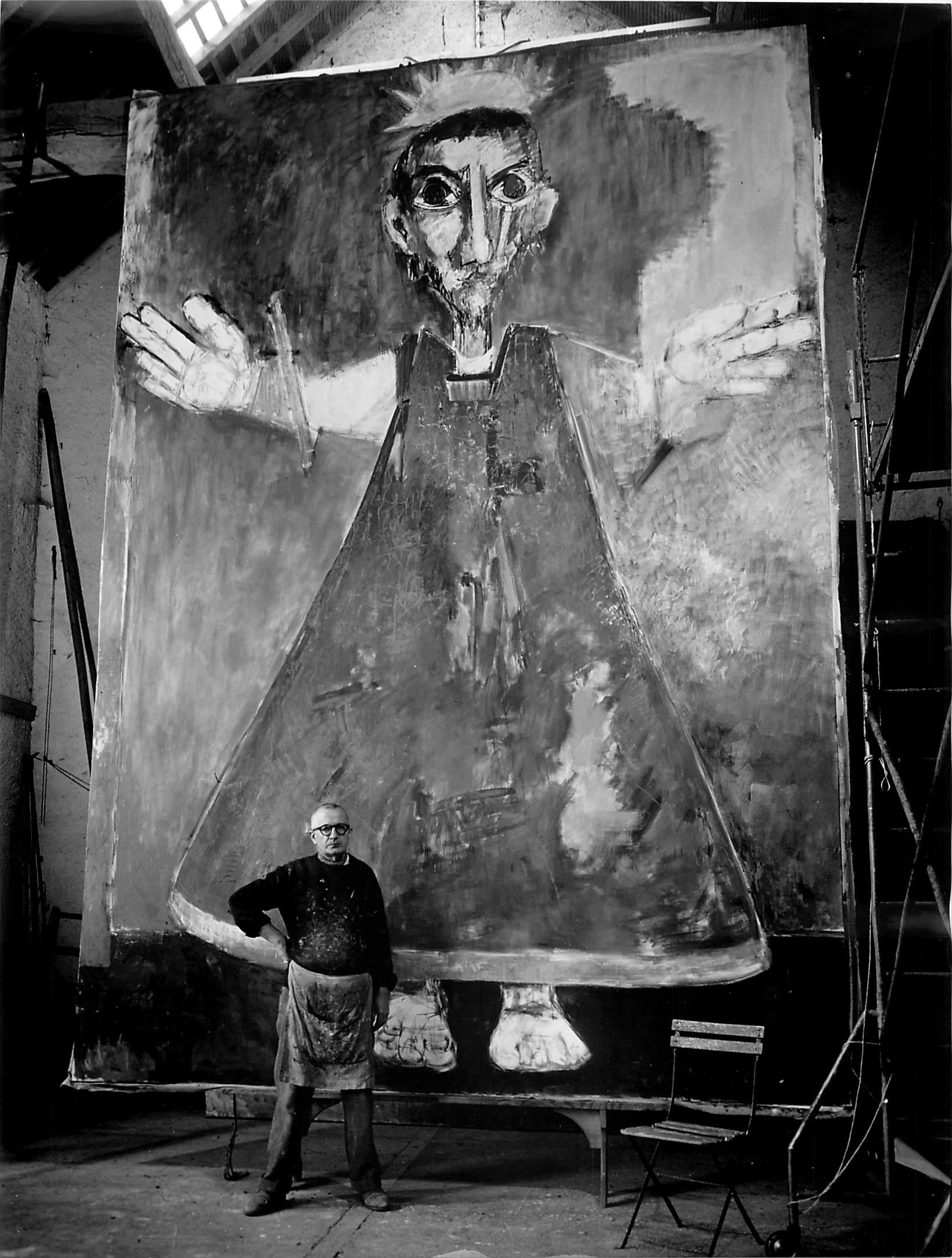 Lorjou with his painting Christ en Gloire