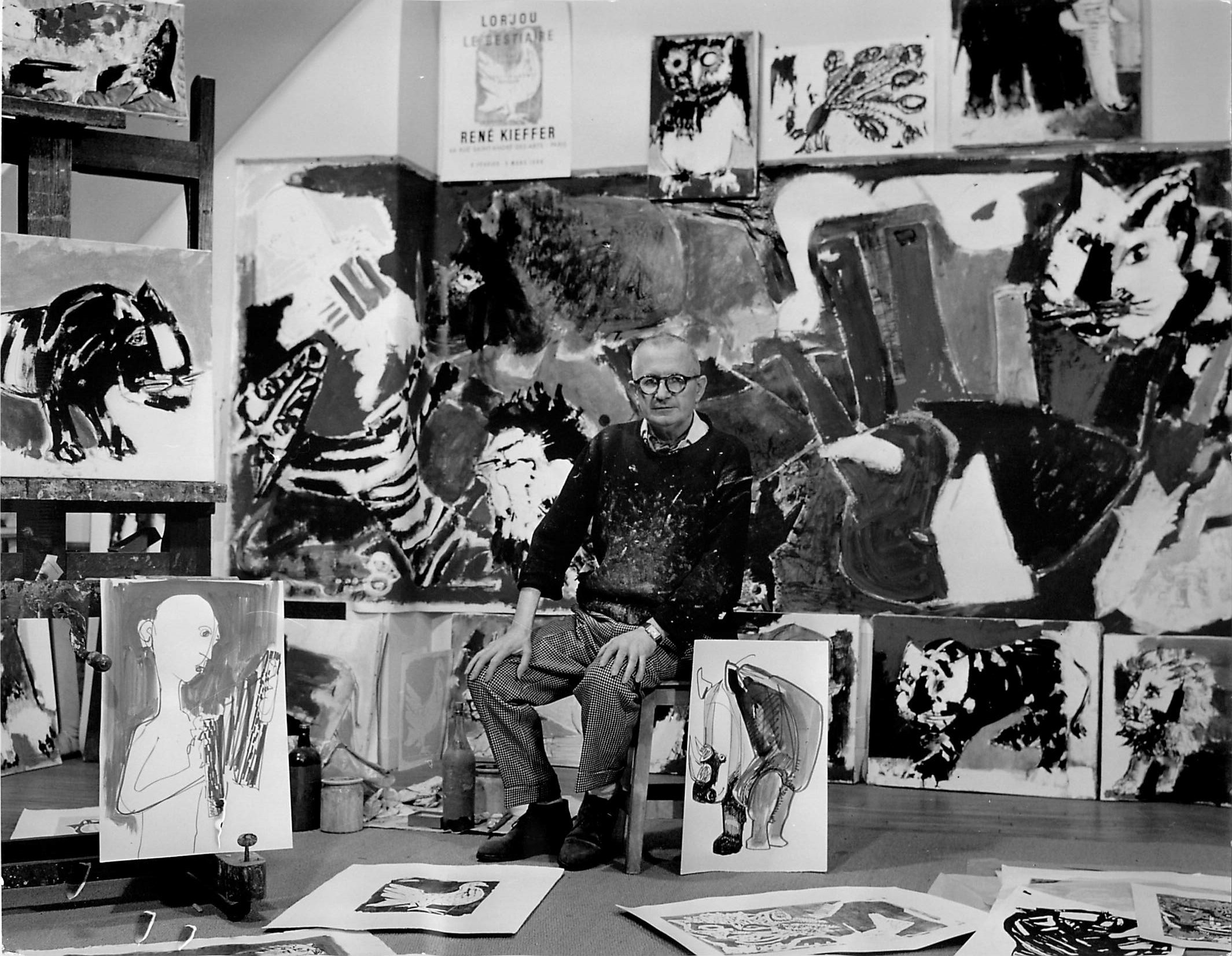 """Lorjou with his woodcut series for """"Le Bestaire"""""""