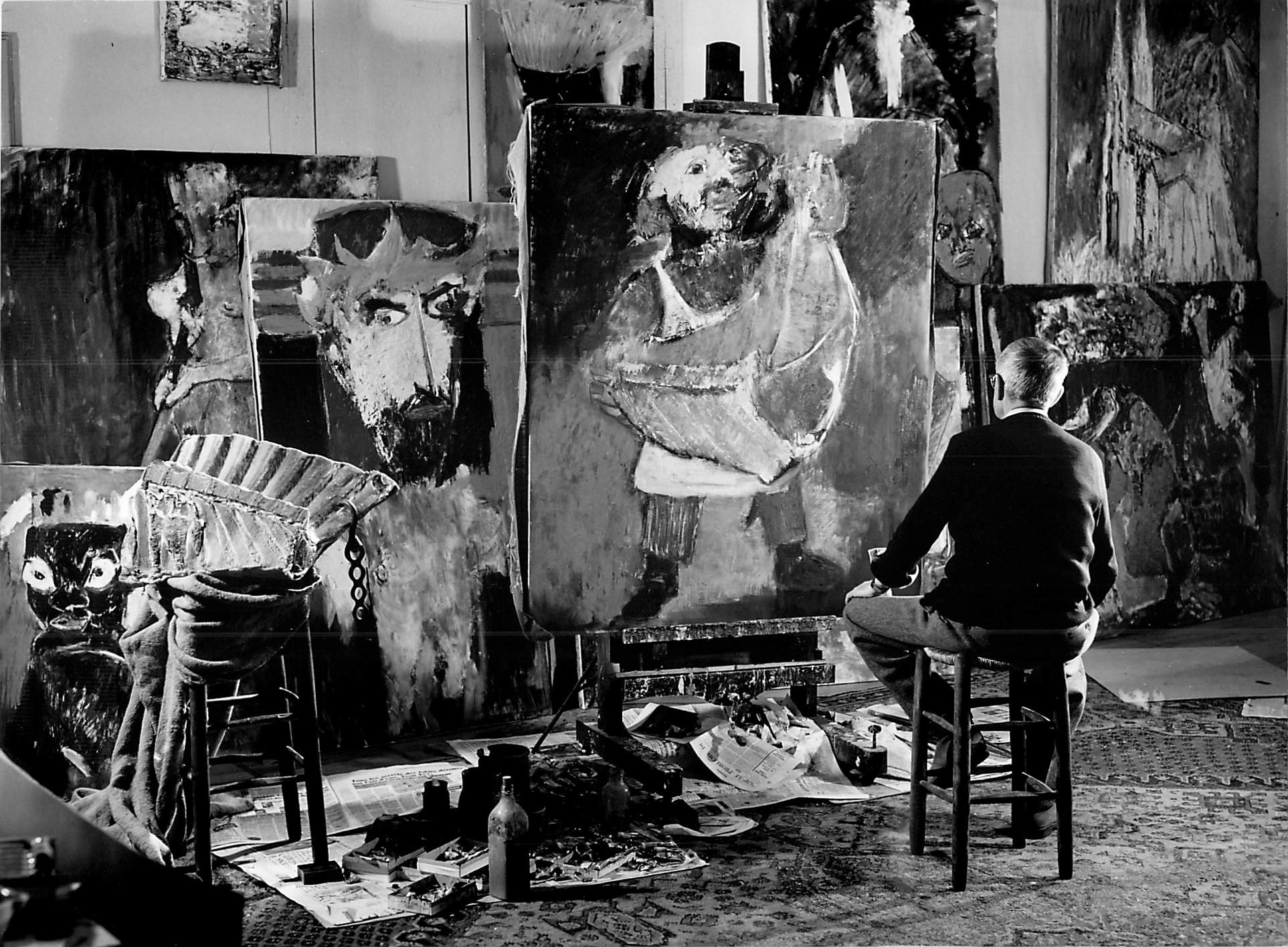 Lorjou in his studio painting Le Roi de L'Entrecote
