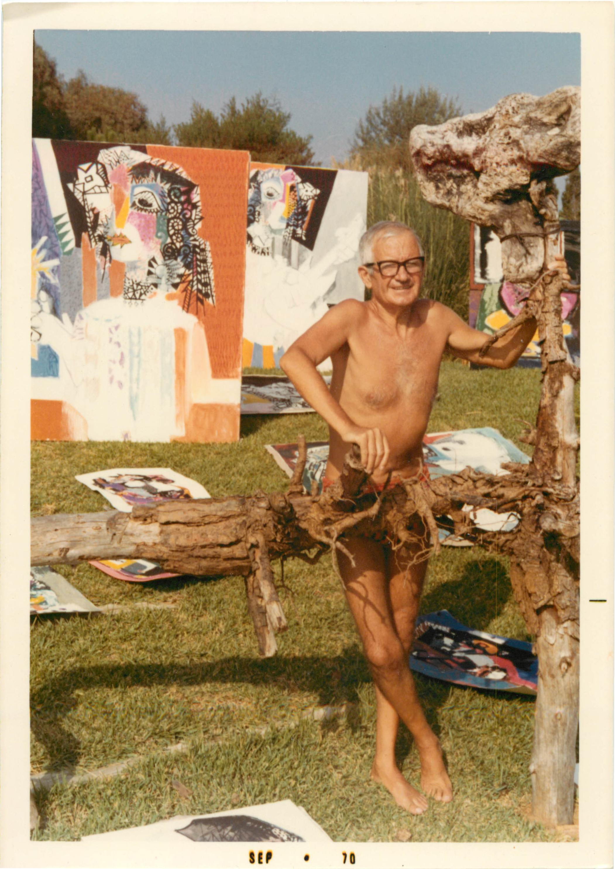 Lorjou with paintings for the Sharon Tate exhibit (c.1969-70)