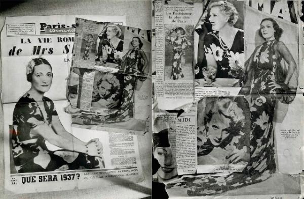 Above, some of Lorjou's large motif silk patterns worn by Marlene Dietrich, Dolores del Rio, Elvire Popesco, Jane Aubert and Wallis Simpson, Duchess of Windsor.