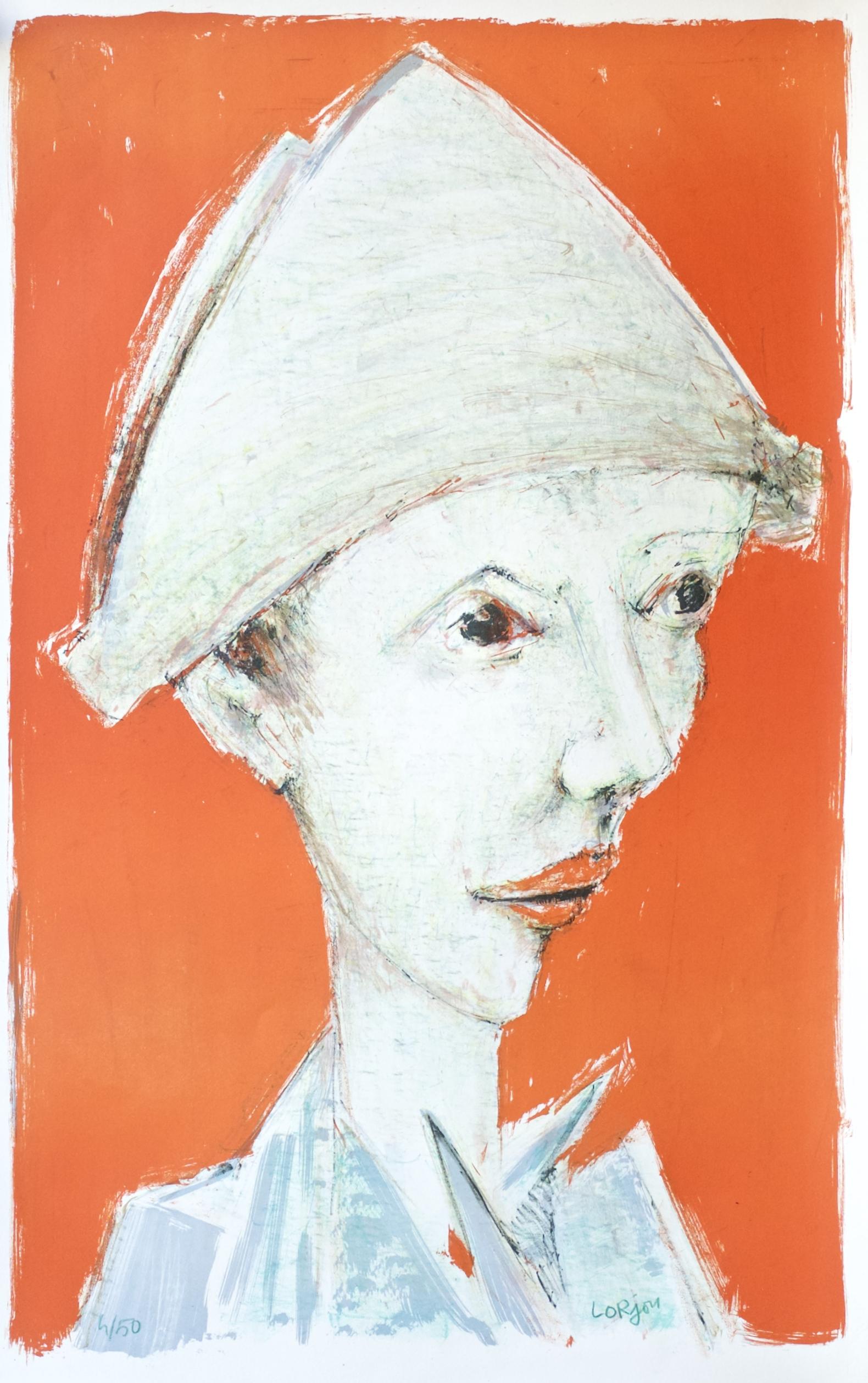 Harequin Profile in Orange (Profil Droit d'Arlequin Fond Orange) (1959)