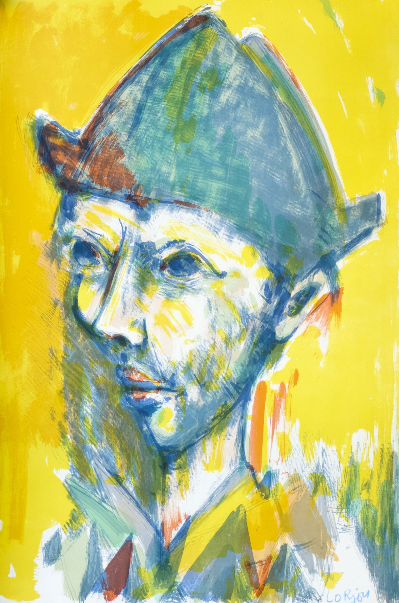 Profile of Harlequin in Yellow (Profil Gauche d'Arlequin Fond Jaune) (1959)