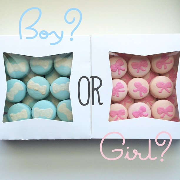 Custom Macarons for Baby Shower or Gender Reveal Party