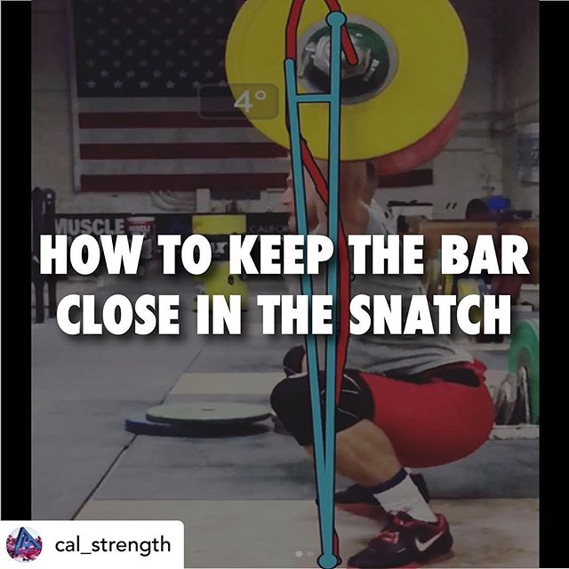 HOW TO KEEP THE BAR CLOSE IN THE SNATCH | Written by @cal_strength  Why do we miss attempts in the Snatch? When we see more than four degrees of horizontal displacement, that is the distance that the bar travels away from the body, the chances of making a successful attempt drop significantly.  Two things are likely to happen, either the bar loops away from the body, causing us to miss the lift behind or the bar doesn't achieve the height and momentum required to pull ourselves underneath, which in turn causes the bar to fall in front.  Learn four technical adjustments that you can make right now that will lead to more successful Snatch attempts!  Link to the full article in our story.  #calstrength #liftright #thebarbellwod #barbellwod #weightlifting #olylifting #snatch #technique #coaching #crossfit #crossfitters #amrap #metcon #wod #workout #training #strengthtraining