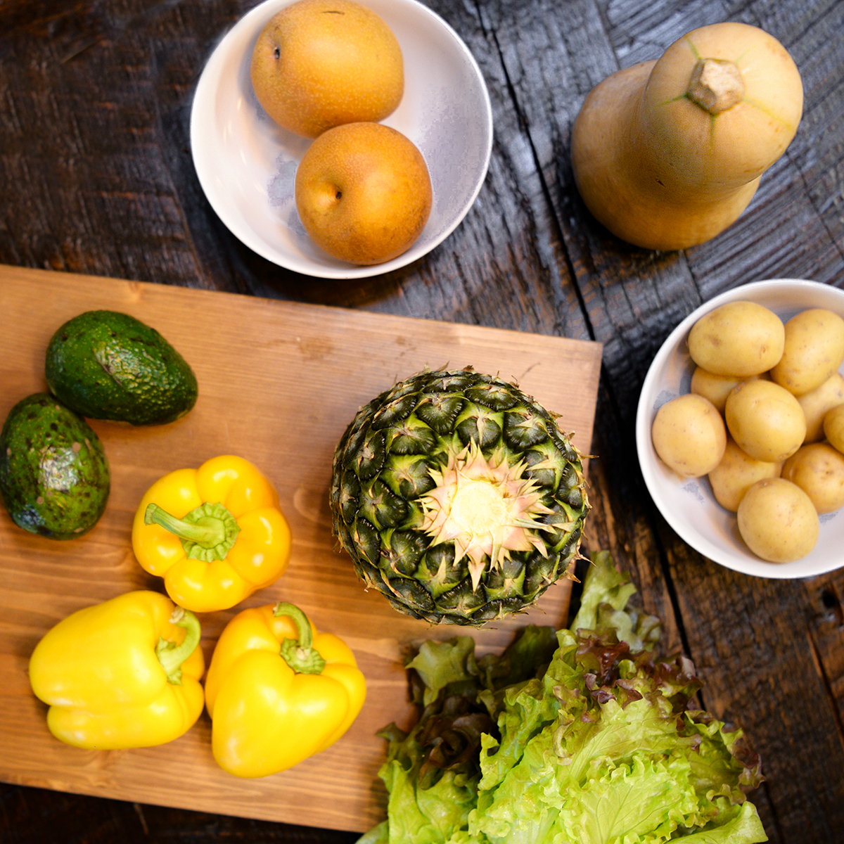 October 26, 2018 - Asian Pears, Butternut Squash, Potatoes, Pineapple, Peppers, Avocados, LettuceFind recipes here