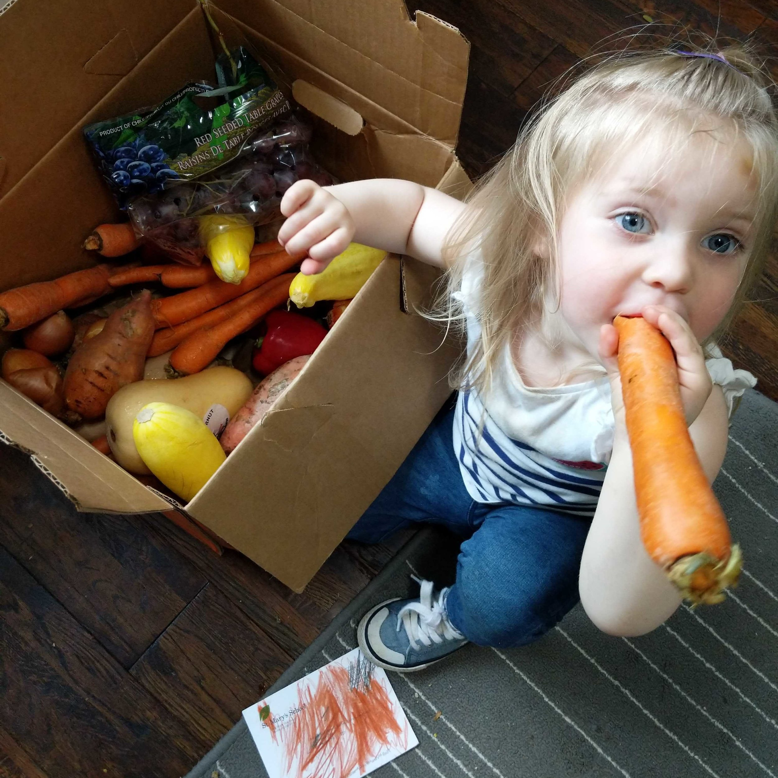"""- """"My daughter is really curious about food right now - so I'm starting early and showing her the importance of where her food comes from and eventually how it plays into the bigger food system. For now, whether that means tasting something at the farmers market or going through our Hungry Harvest delivery together, that sense of discovery is still the same.""""Ariana, Customer Experience and Training Manager"""