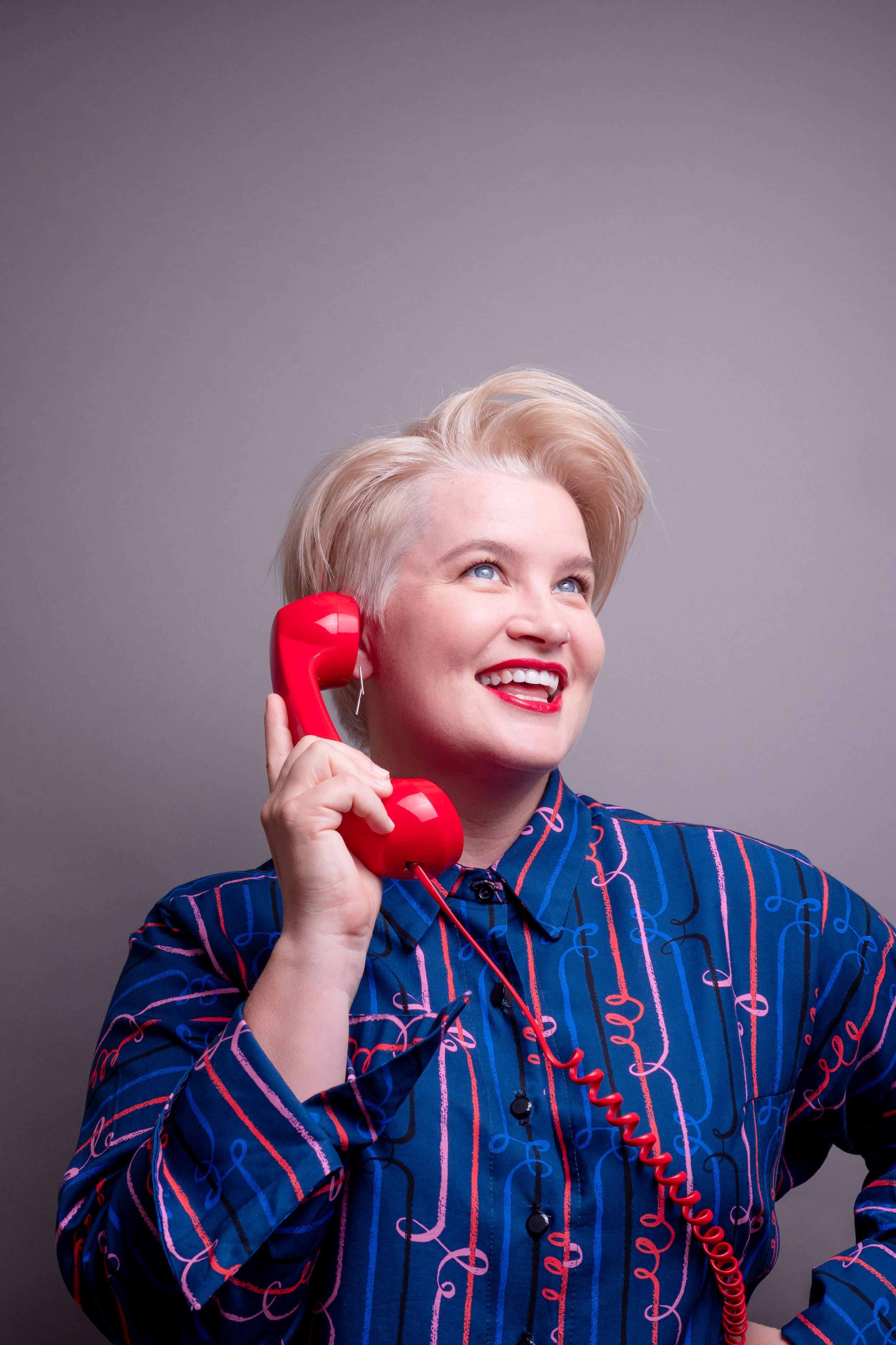 Kassie Red phone blue dress.jpg