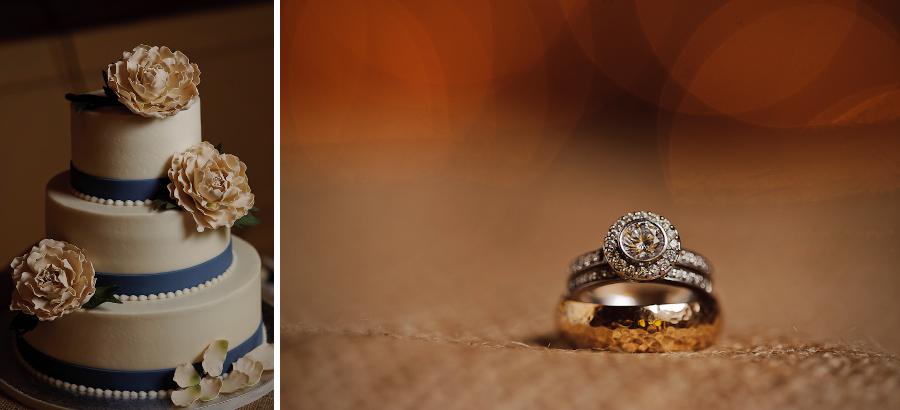 wedding ring and cake