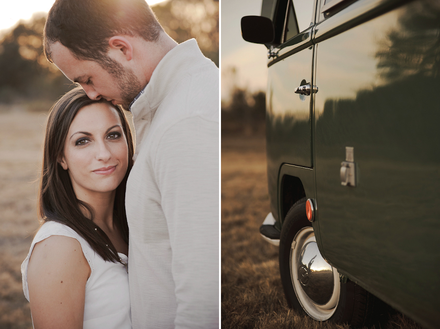 Engagement picutres with a vw wagon bus