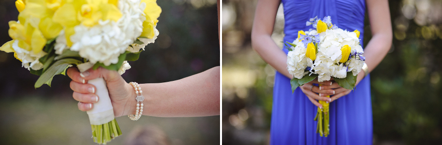 Blue and Yellow Bridal Bouquets