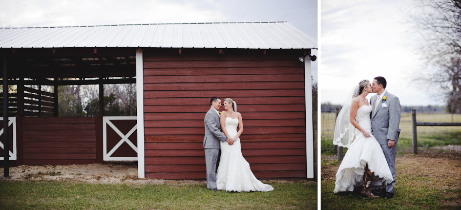 bride and groom in front of a barn | santa fe ranch