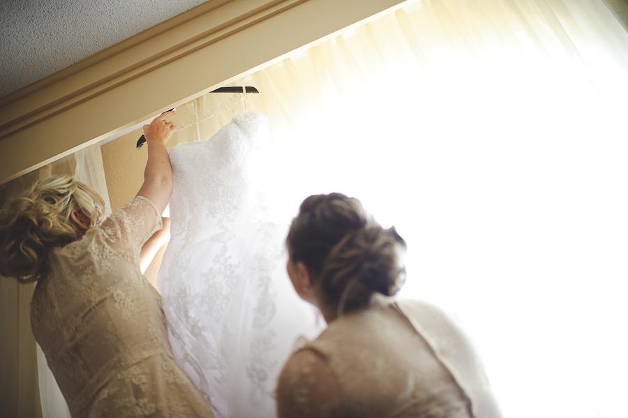 bridesmaids getting dress down
