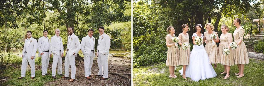 sunglow photography, vintage style bridesmaids dresses, seersucker groomsmen suits