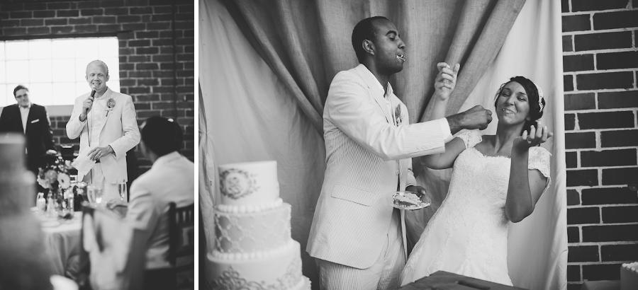cake smashing at a wedding