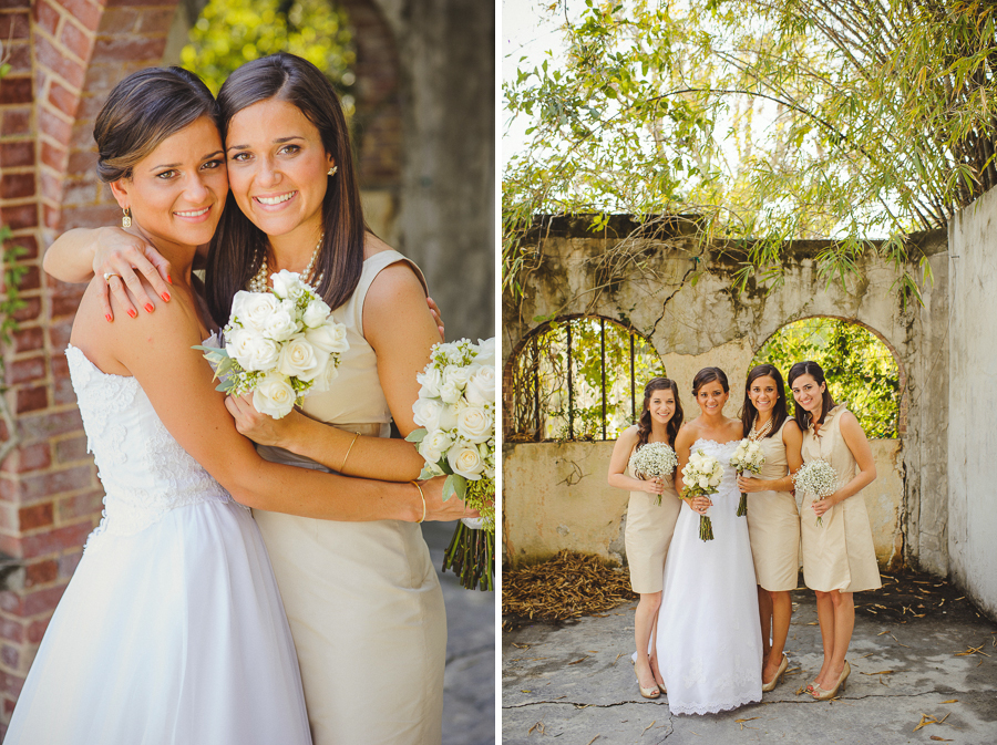 twins bride and bridesmaid