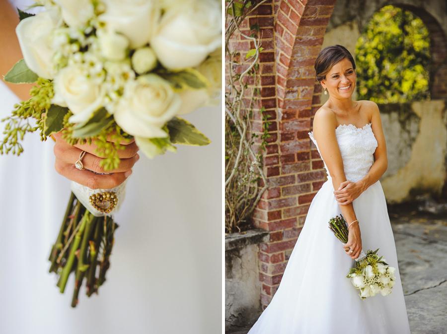 bride wears mothers dress for wedding