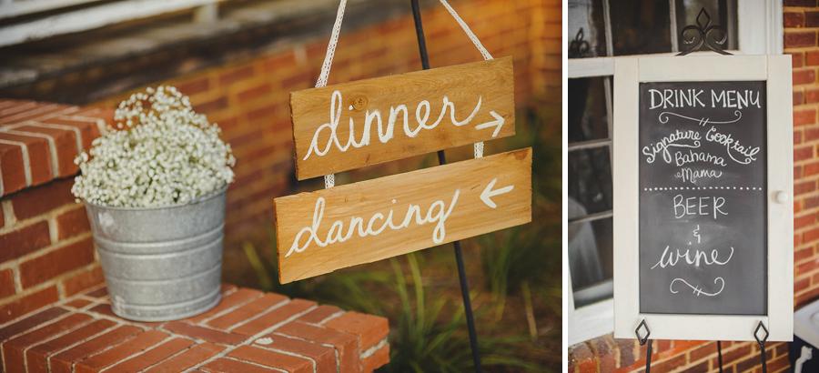 pinetrest wedding signs details