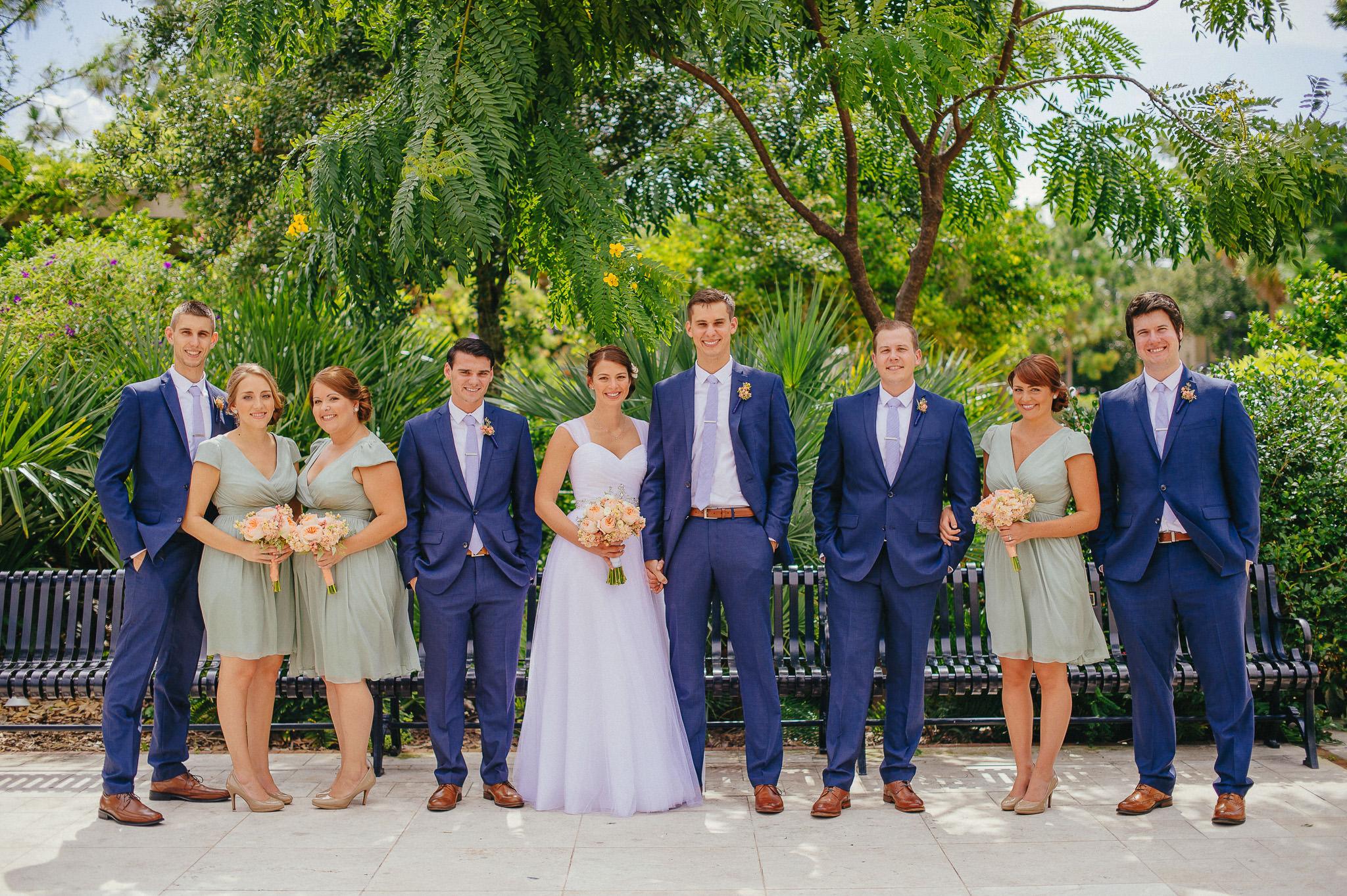 winter park florida wedding party, peach, white, ivory, green, blue wedding attire