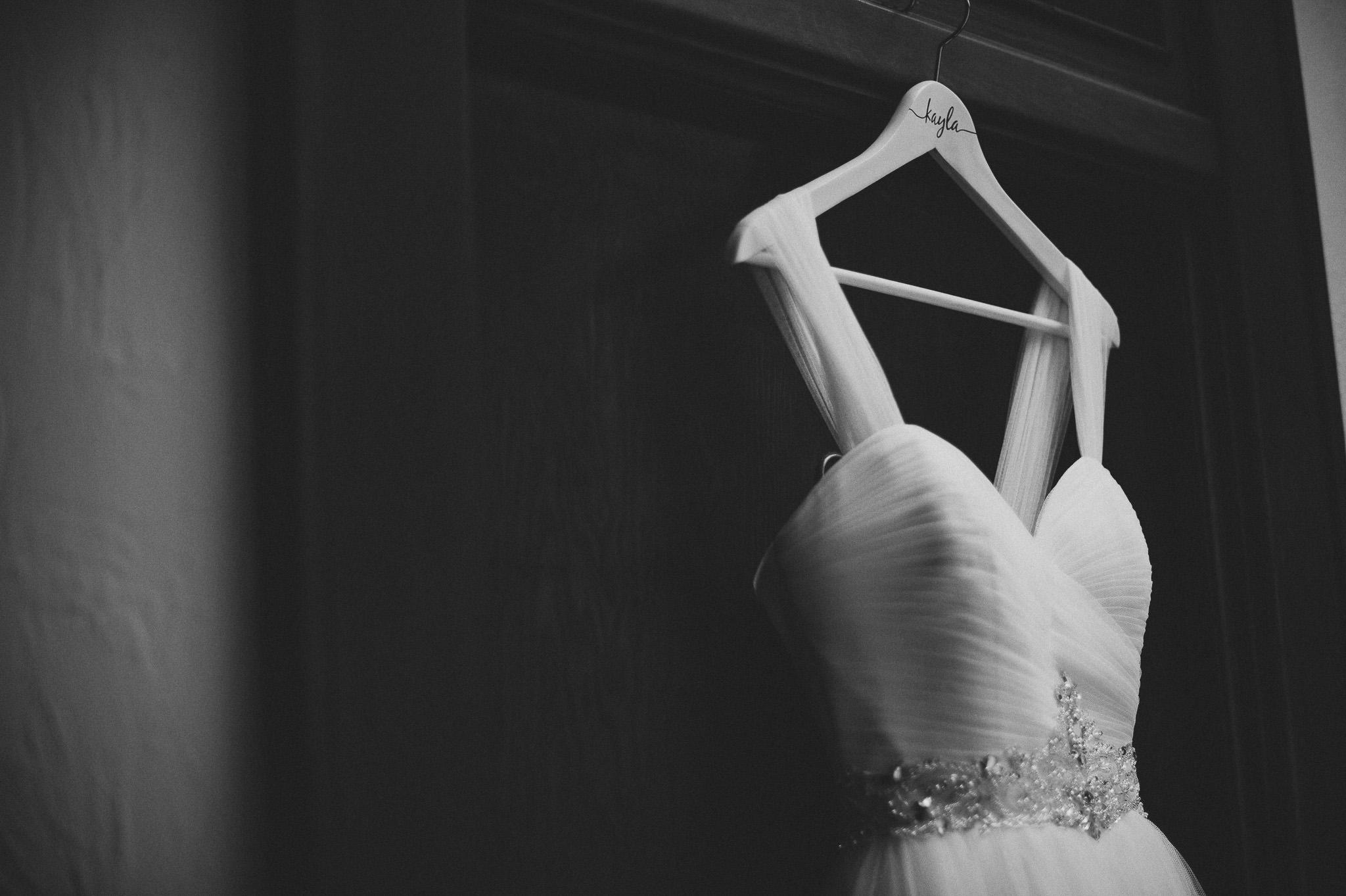 hand lettering wedding dress hanger