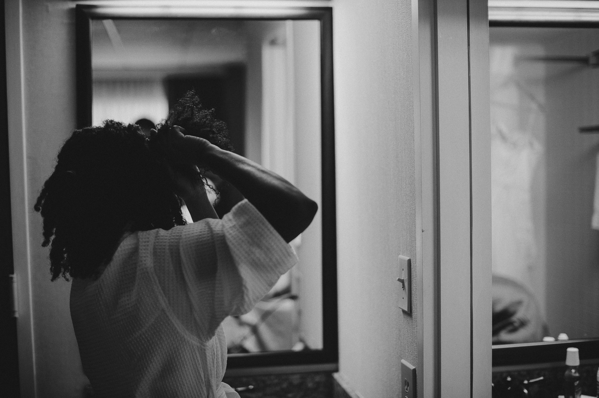 bride doing her own hair