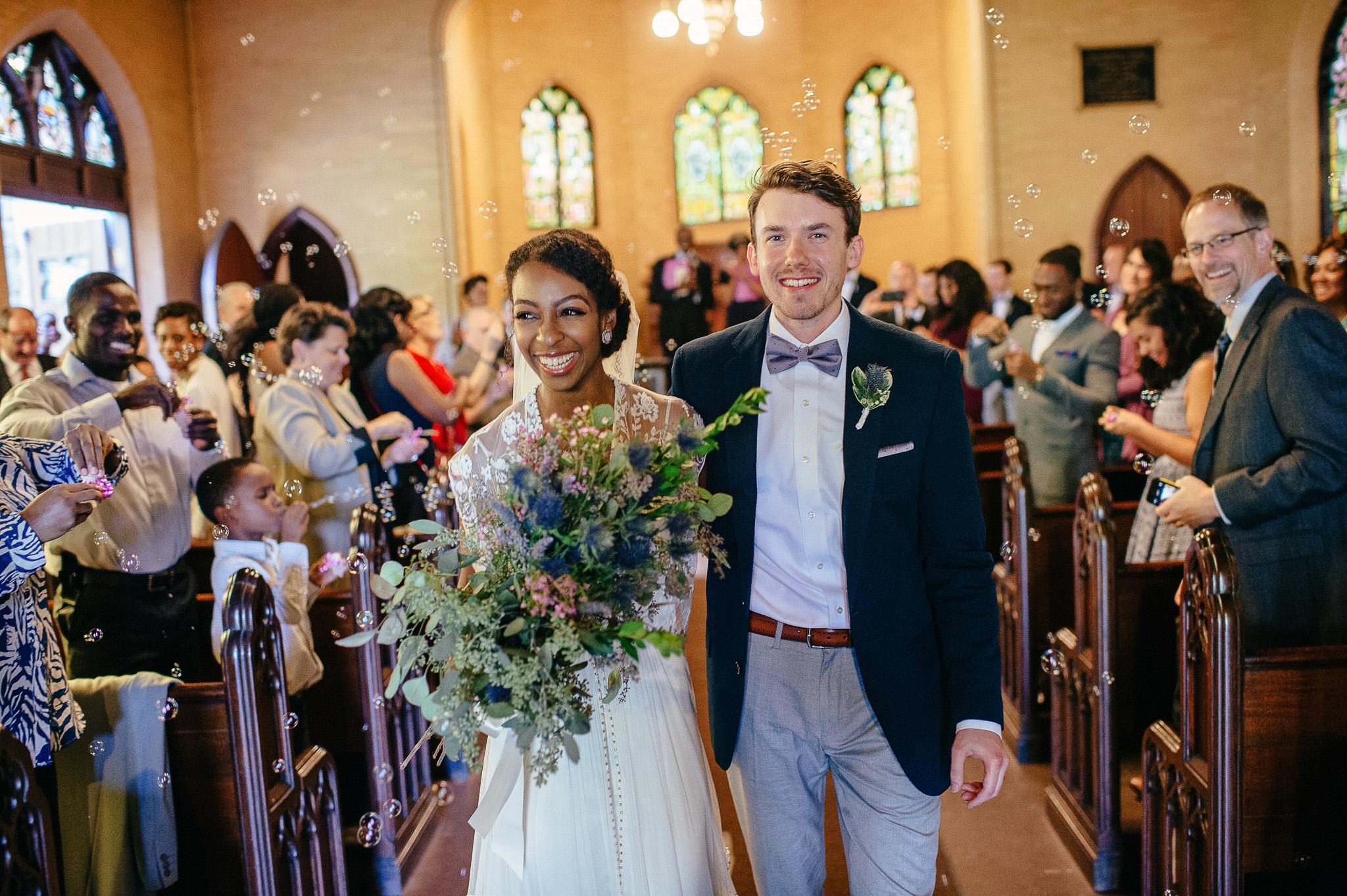 Wilde Chapel Portland Maine Wedding, bubbles during wedding recessional