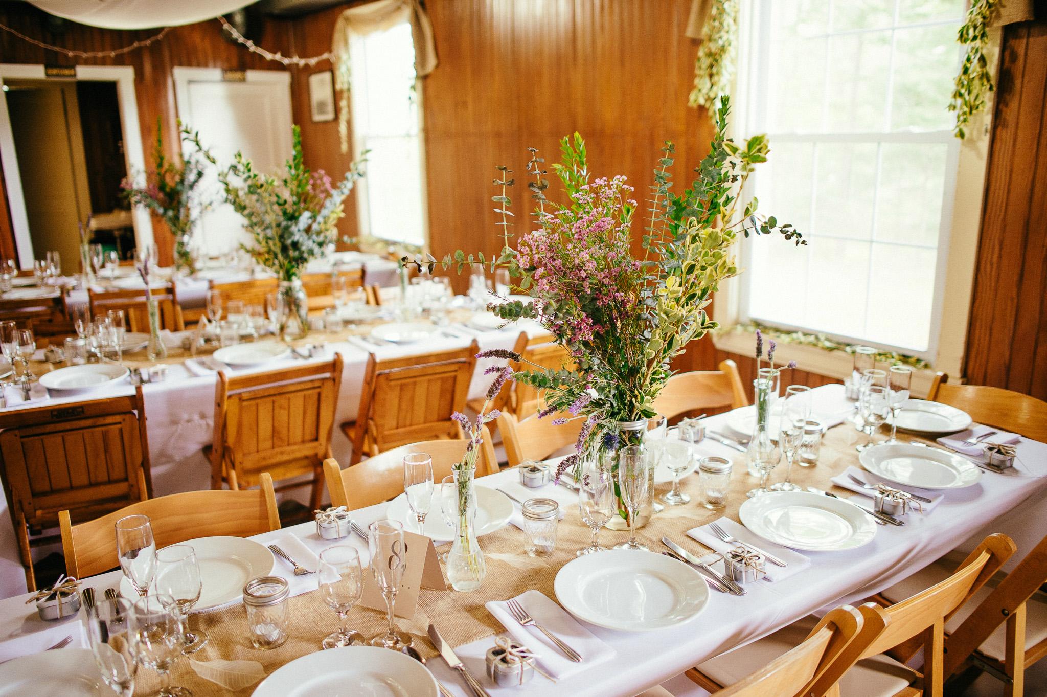 Sprague Hall Wedding Reception Cape ElizabethMaine, DIY Lavender and Natural Flowers