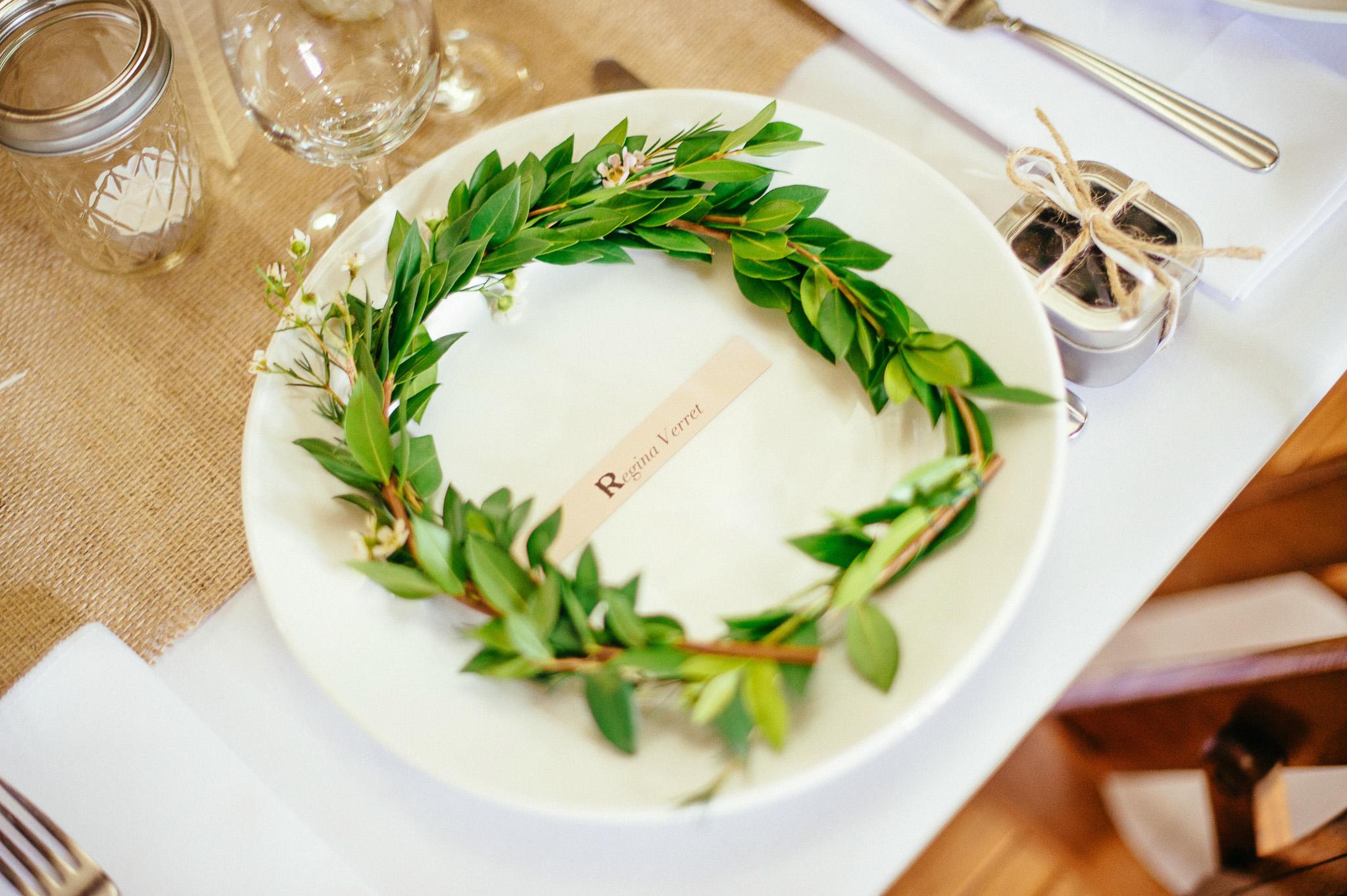 Flower Head Wreath at Wedding Reception Cape Elizabeth ME