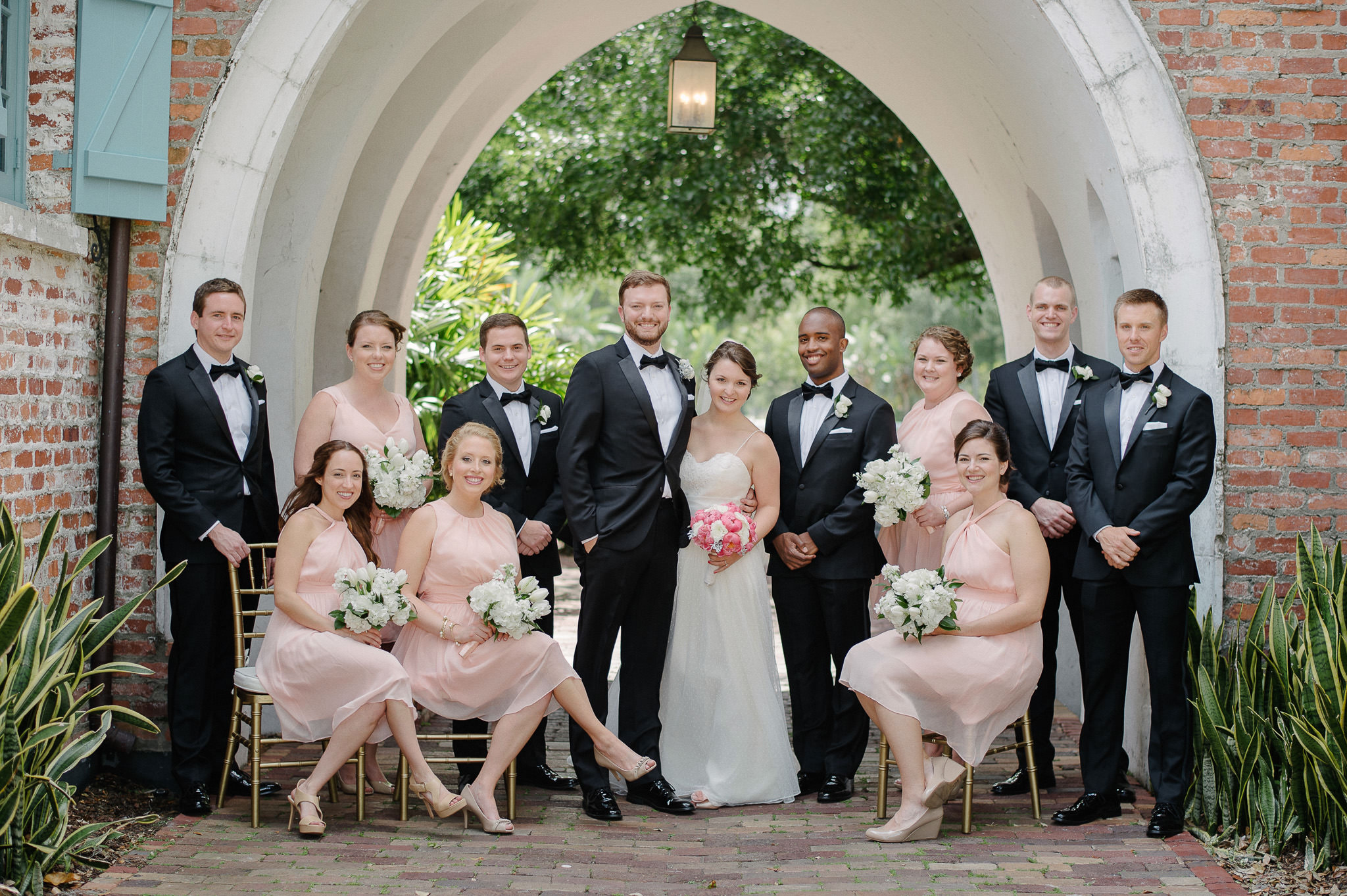 Wedding Neutral Color Palette with Coral and Peach and Classic Black Tux