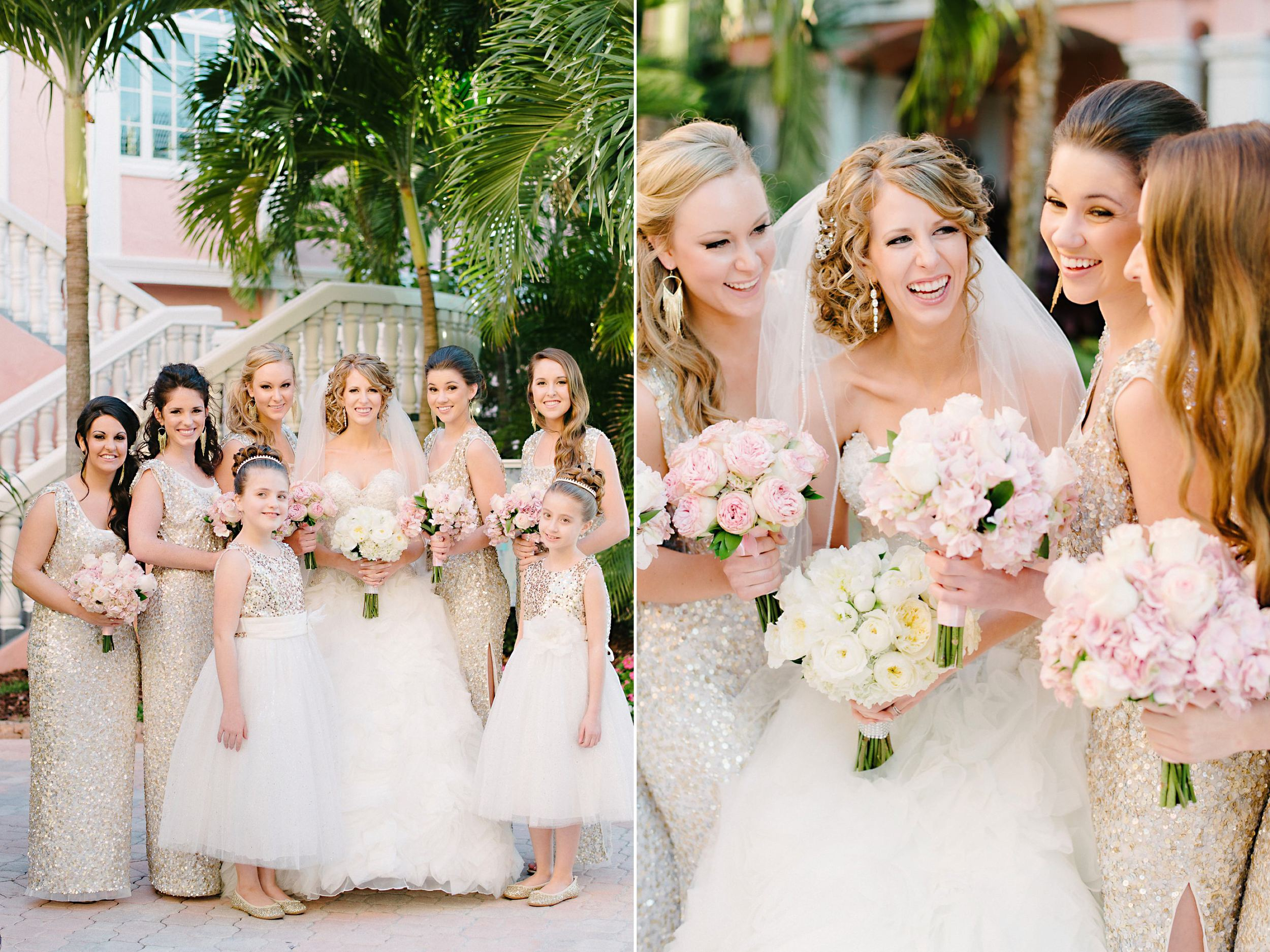 Long Gold Sequin Gown Bridesmaids