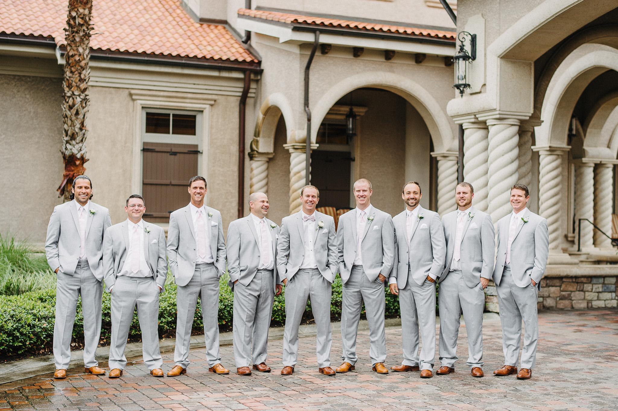 Groomsmen Light Grey Suit and Pink Tie